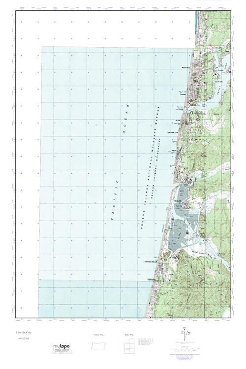 Mytopo Lincoln City Oregon Usgs Quad Topo Map