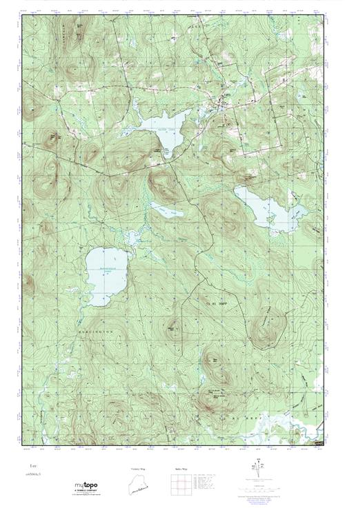 Topo Map Of Maine.Mytopo Lee Maine Usgs Quad Topo Map