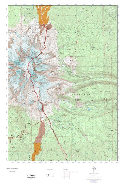 Mt Adams Washington Map.Mytopo Mount Adams East Washington Usgs Quad Topo Map