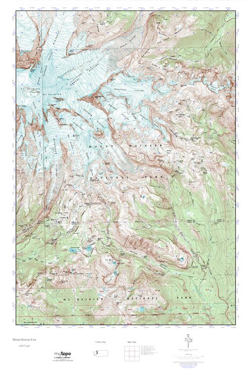 MyTopo Mount Rainier East Washington USGS Quad Topo Map - Mt rainier on us map