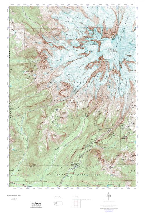MyTopo Mount Rainier West Washington USGS Quad Topo Map - Mt rainier on us map