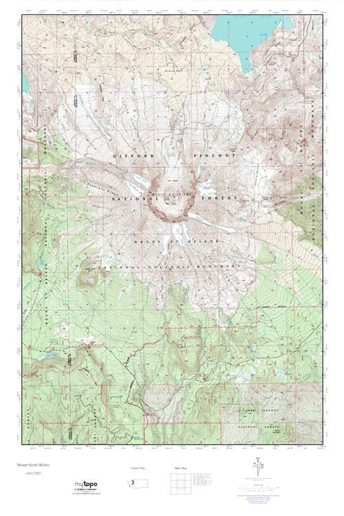MyTopo Mount Saint Helens Washington USGS Quad Topo Map - Mt st helens on us map