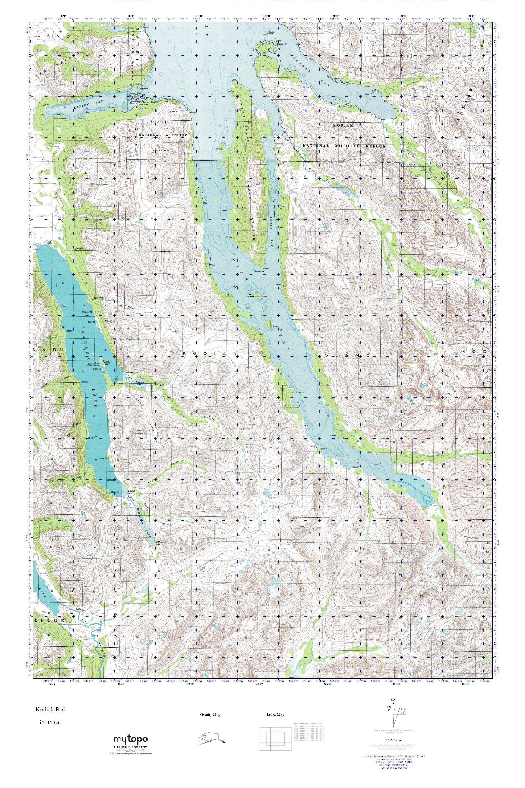 MyTopo Kodiak B Alaska USGS Quad Topo Map - Alaska topo maps