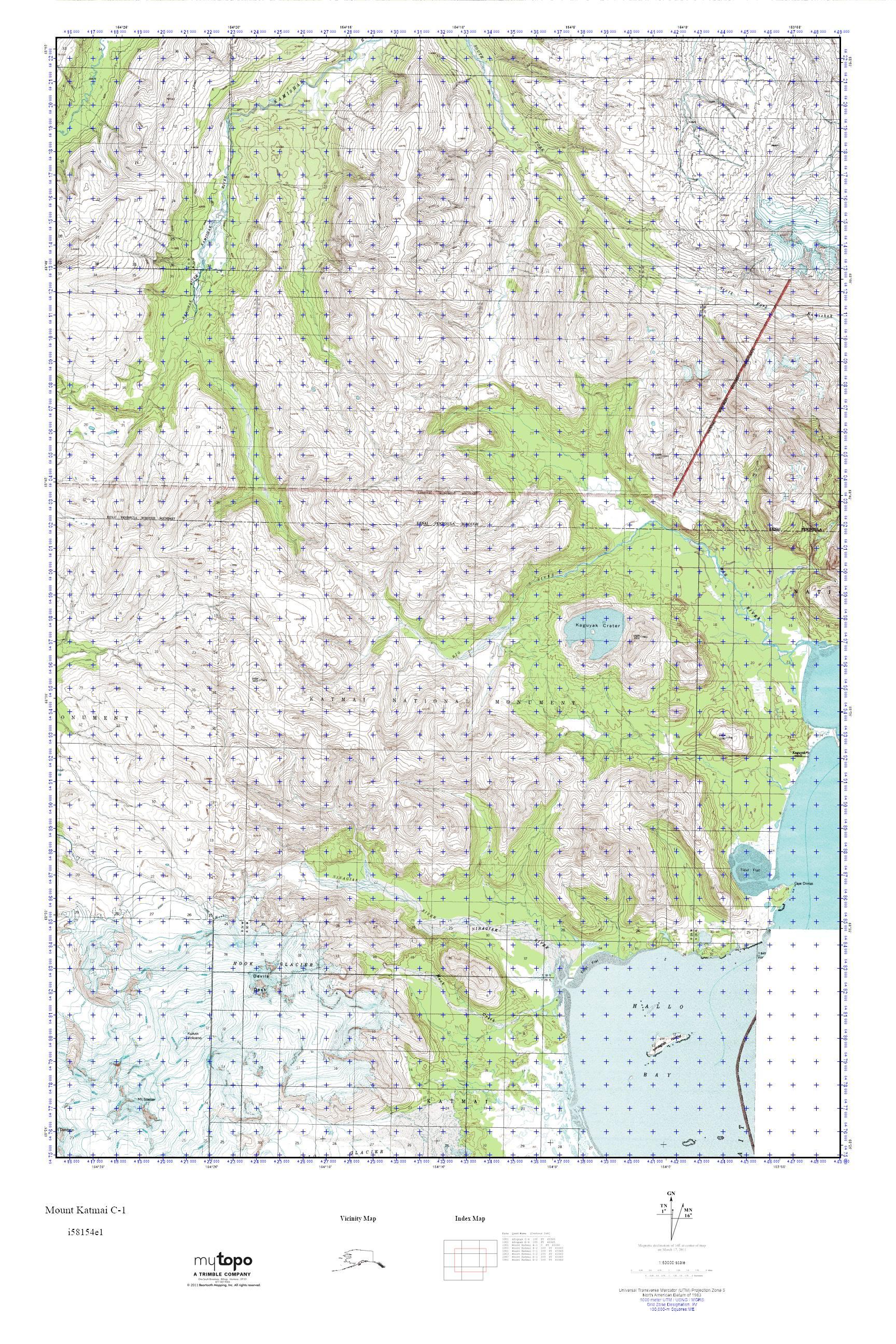 MyTopo Mount Katmai C-1, Alaska USGS Quad Topo Map