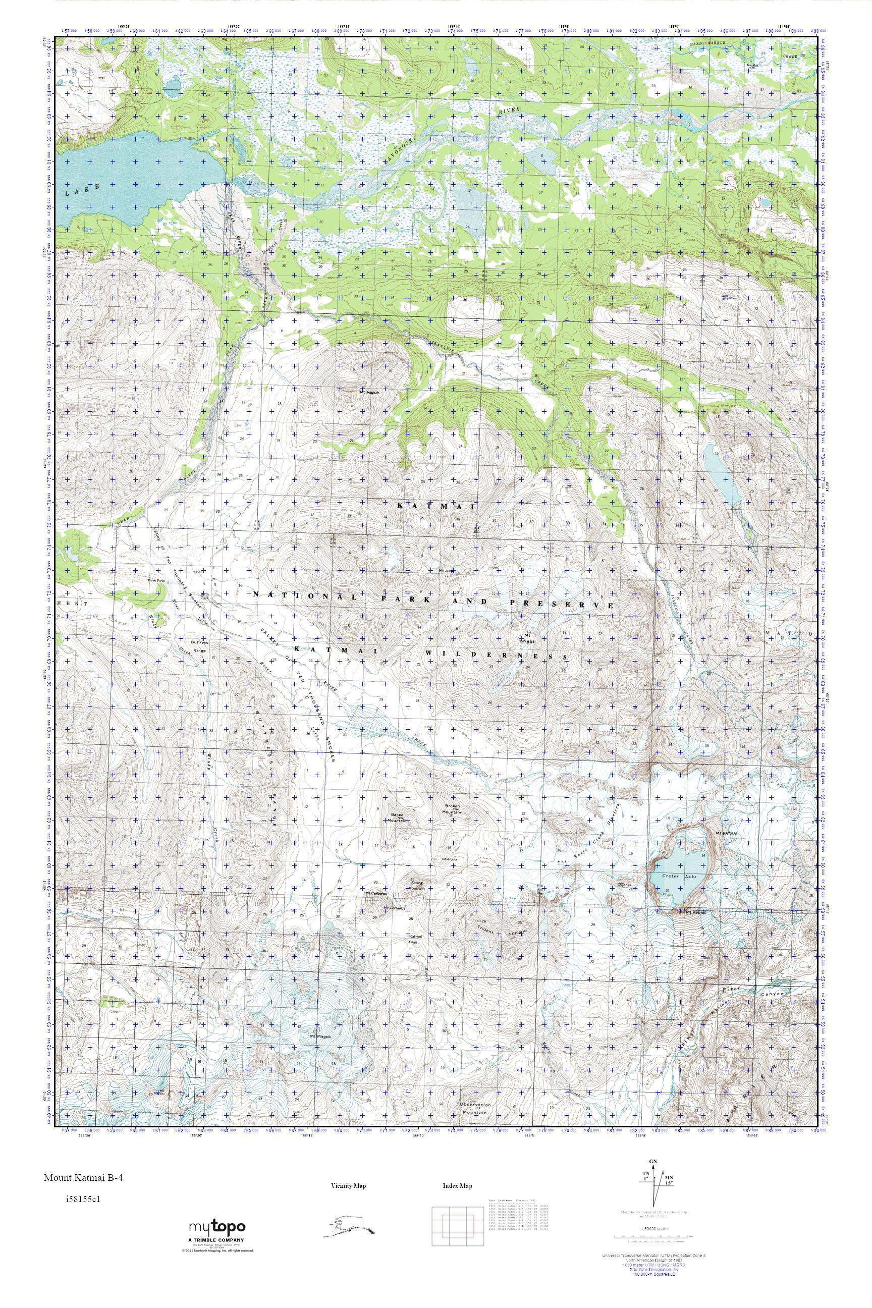 MyTopo Mount Katmai B4 Alaska USGS Quad Topo Map