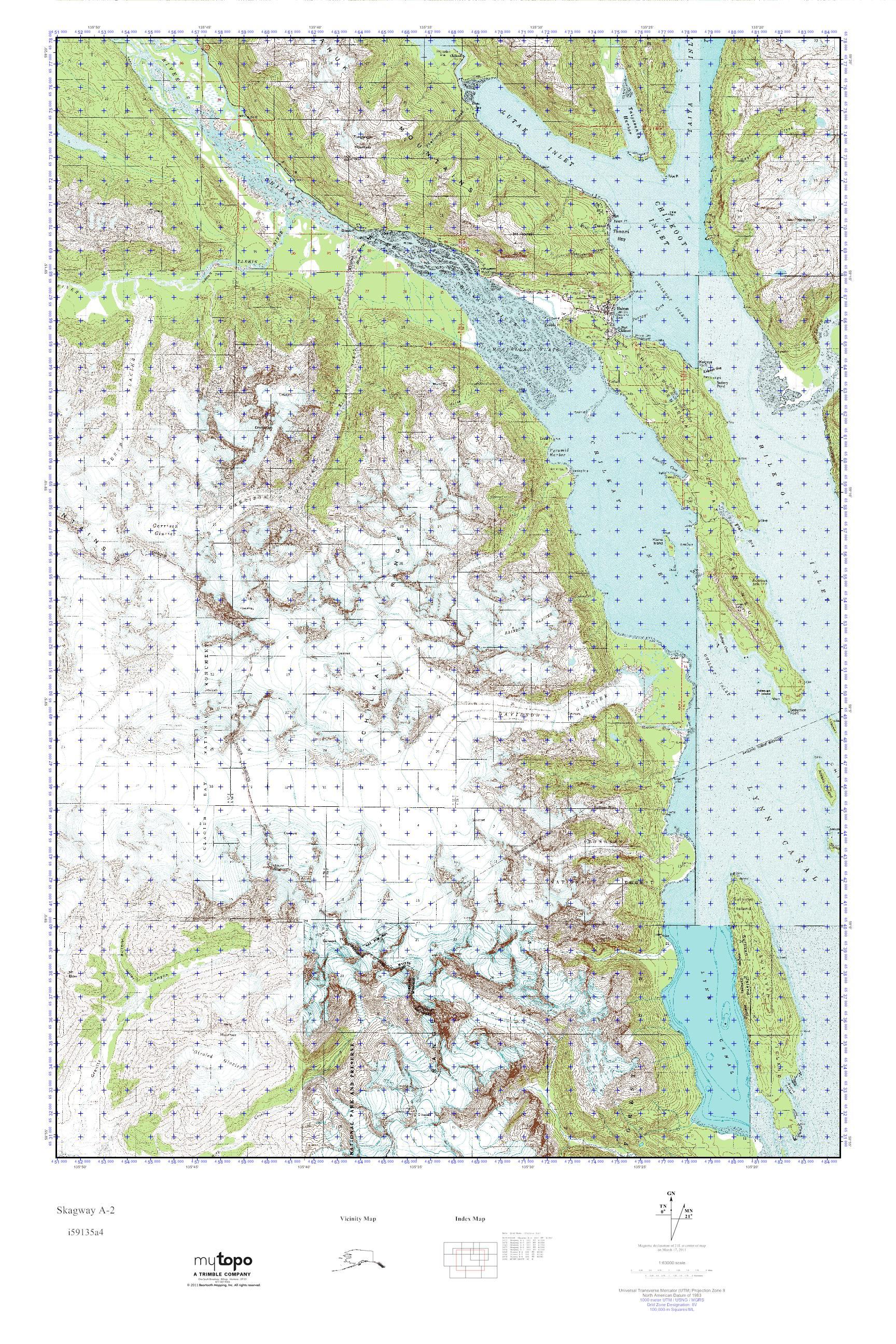 MyTopo Skagway A-2, Alaska USGS Quad Topo Map