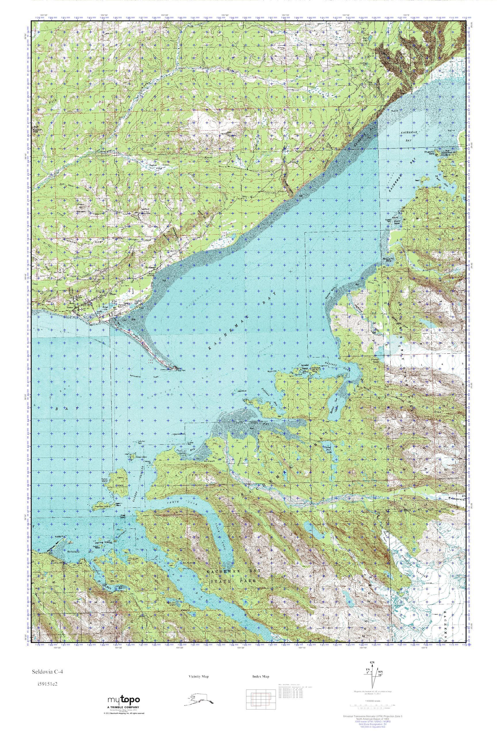 Mytopo Seldovia C 4 Alaska Usgs Quad Topo Map