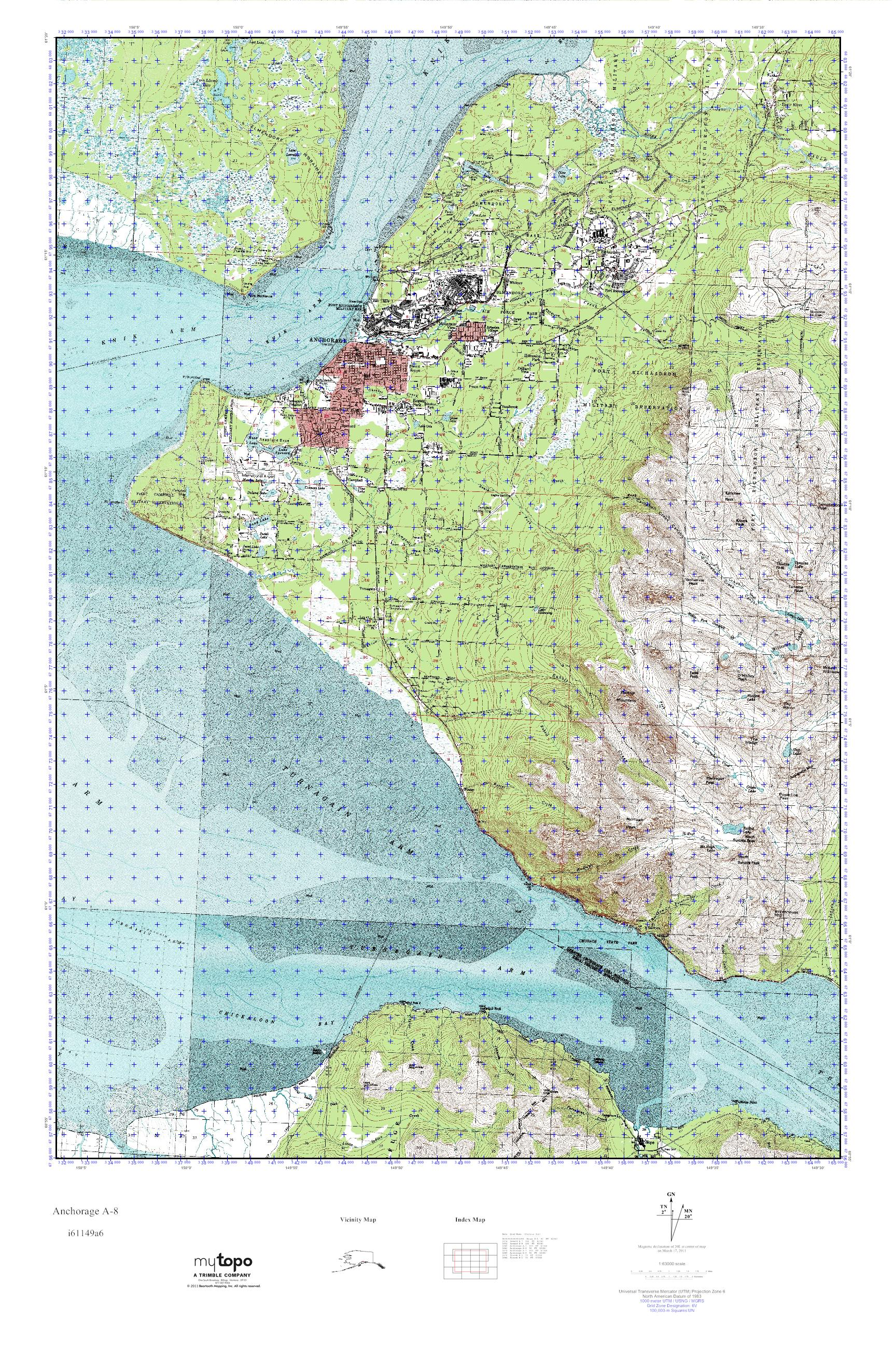 MyTopo Anchorage A Alaska USGS Quad Topo Map - Usgs topo maps alaska