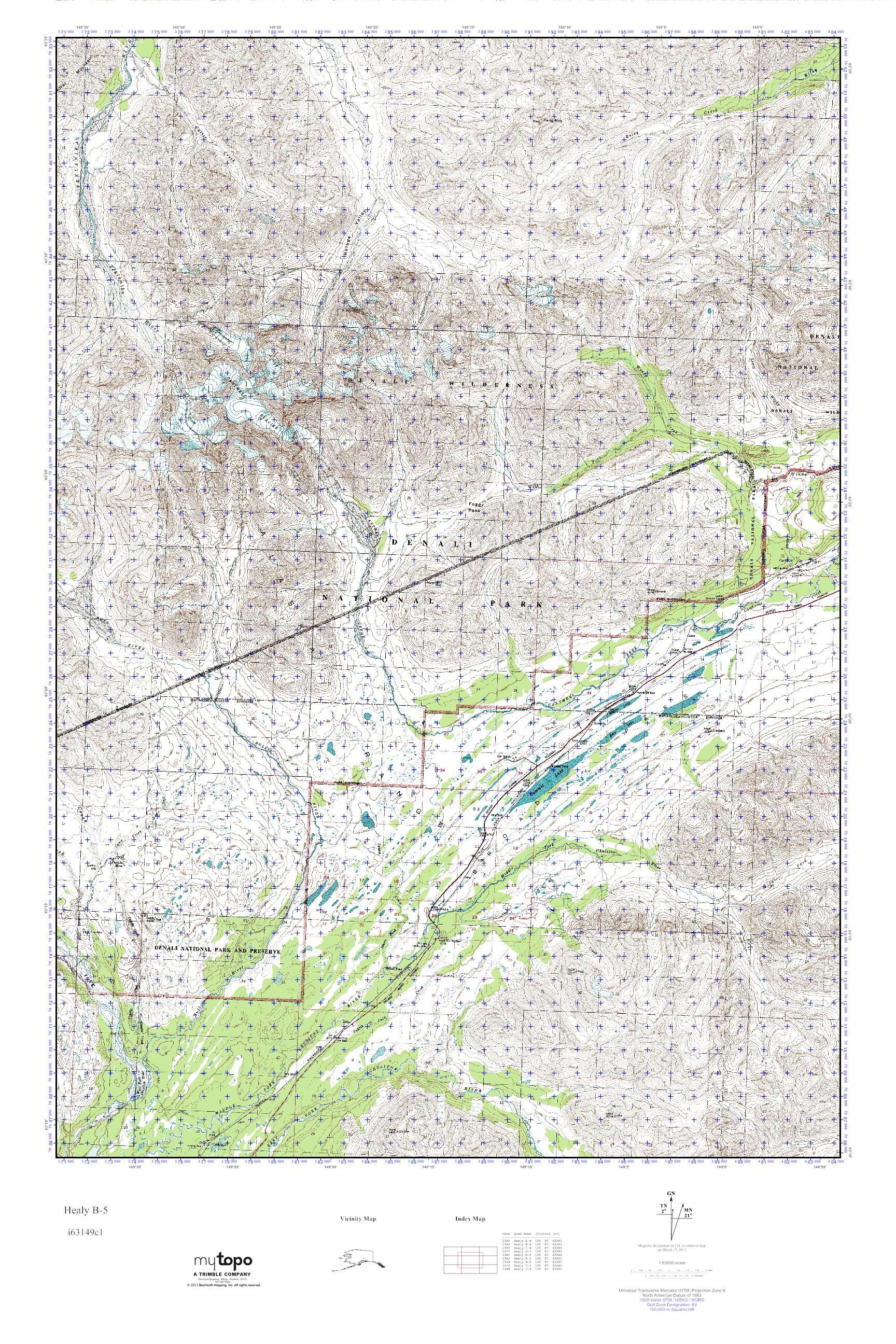MyTopo Healy B 5 Alaska USGS Quad Topo Map