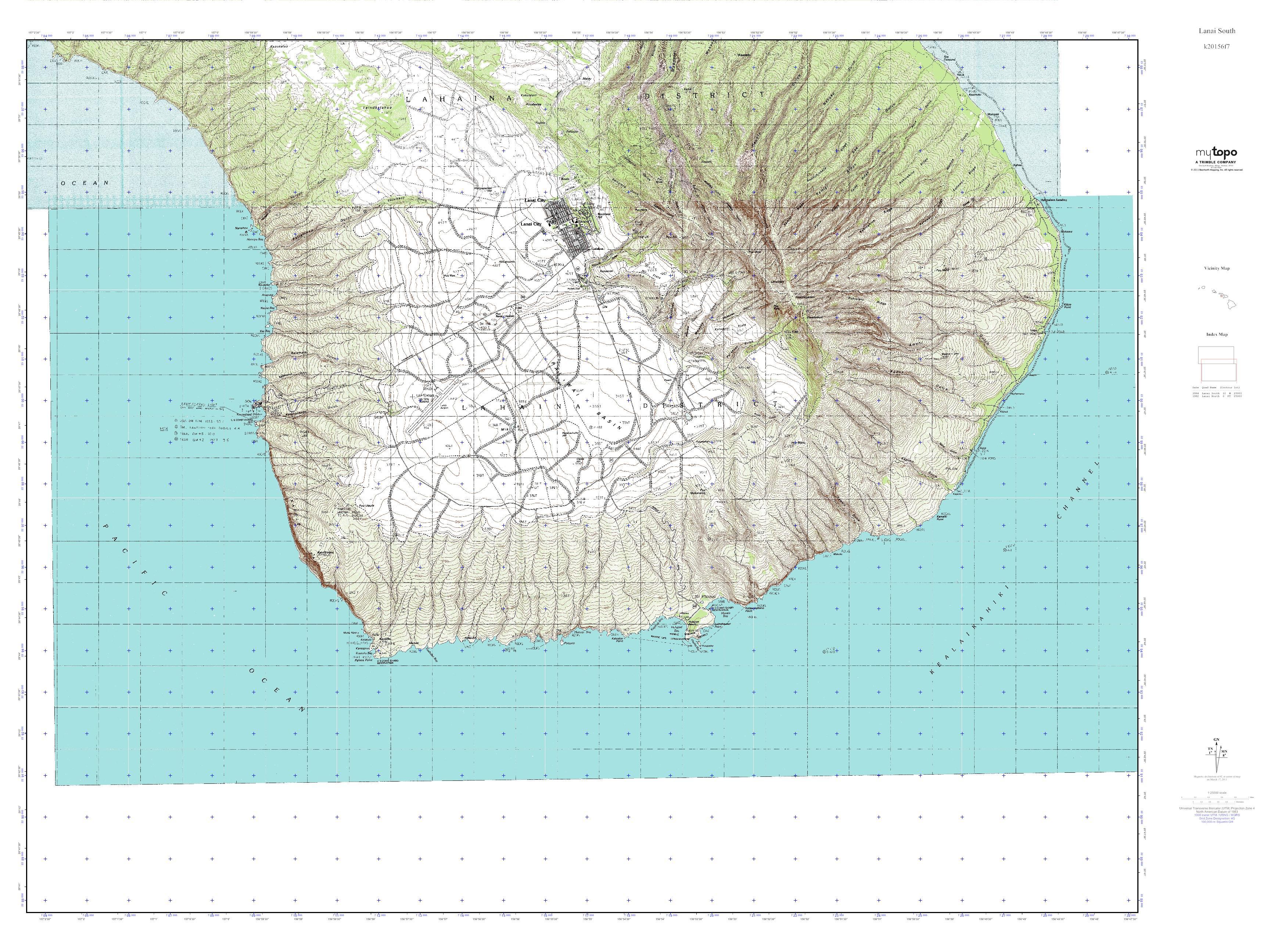 MyTopo Lanai South, Hawaii USGS Quad Topo Map