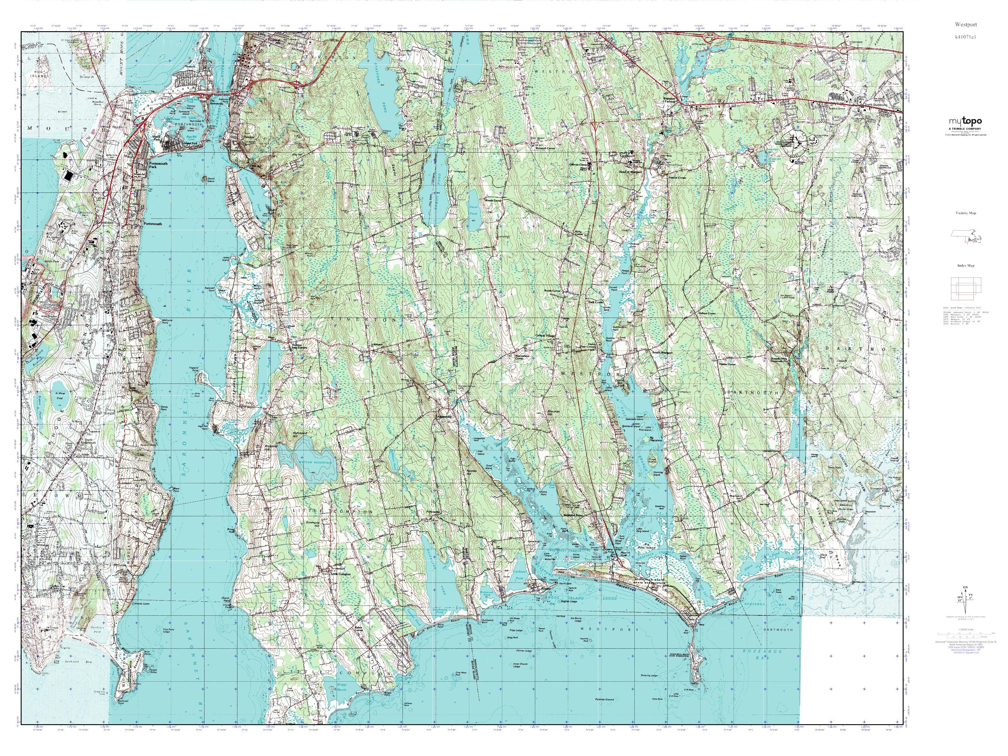 Topographic Map Rhode Island.Mytopo Westport Rhode Island Usgs Quad Topo Map
