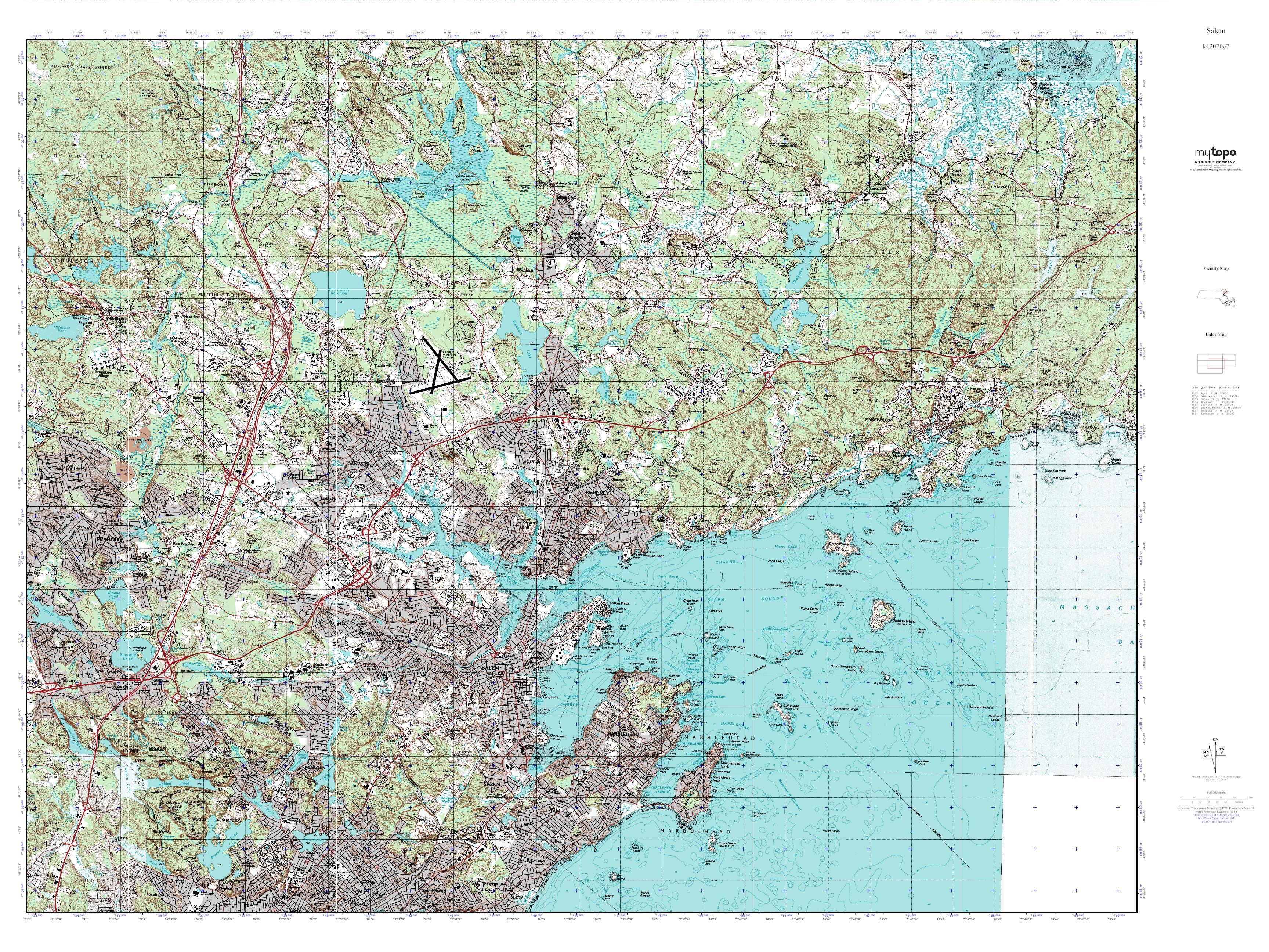 Topographic Map Massachusetts.Mytopo Salem Massachusetts Usgs Quad Topo Map