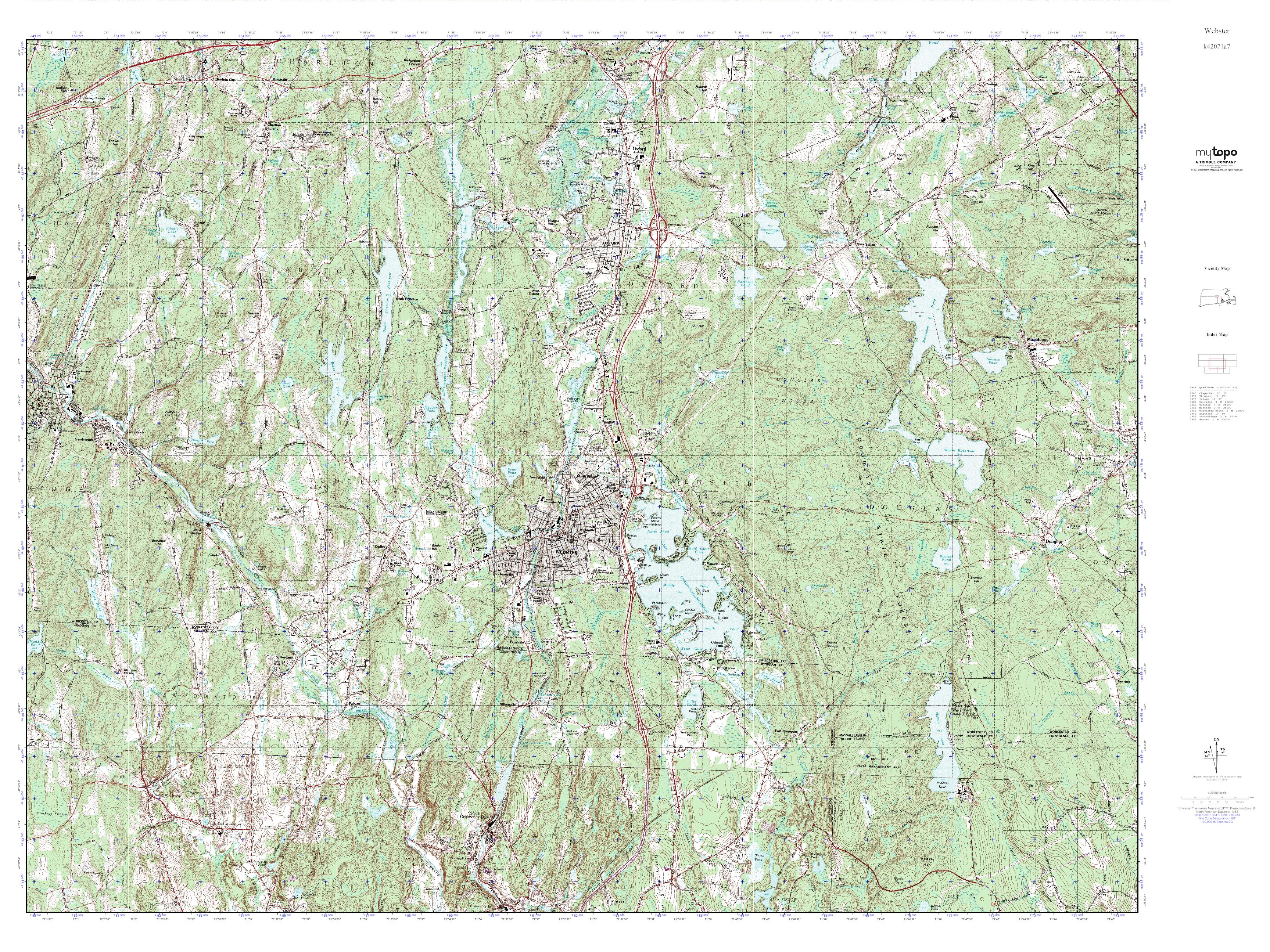 Topographic Map Rhode Island.Mytopo Webster Rhode Island Usgs Quad Topo Map