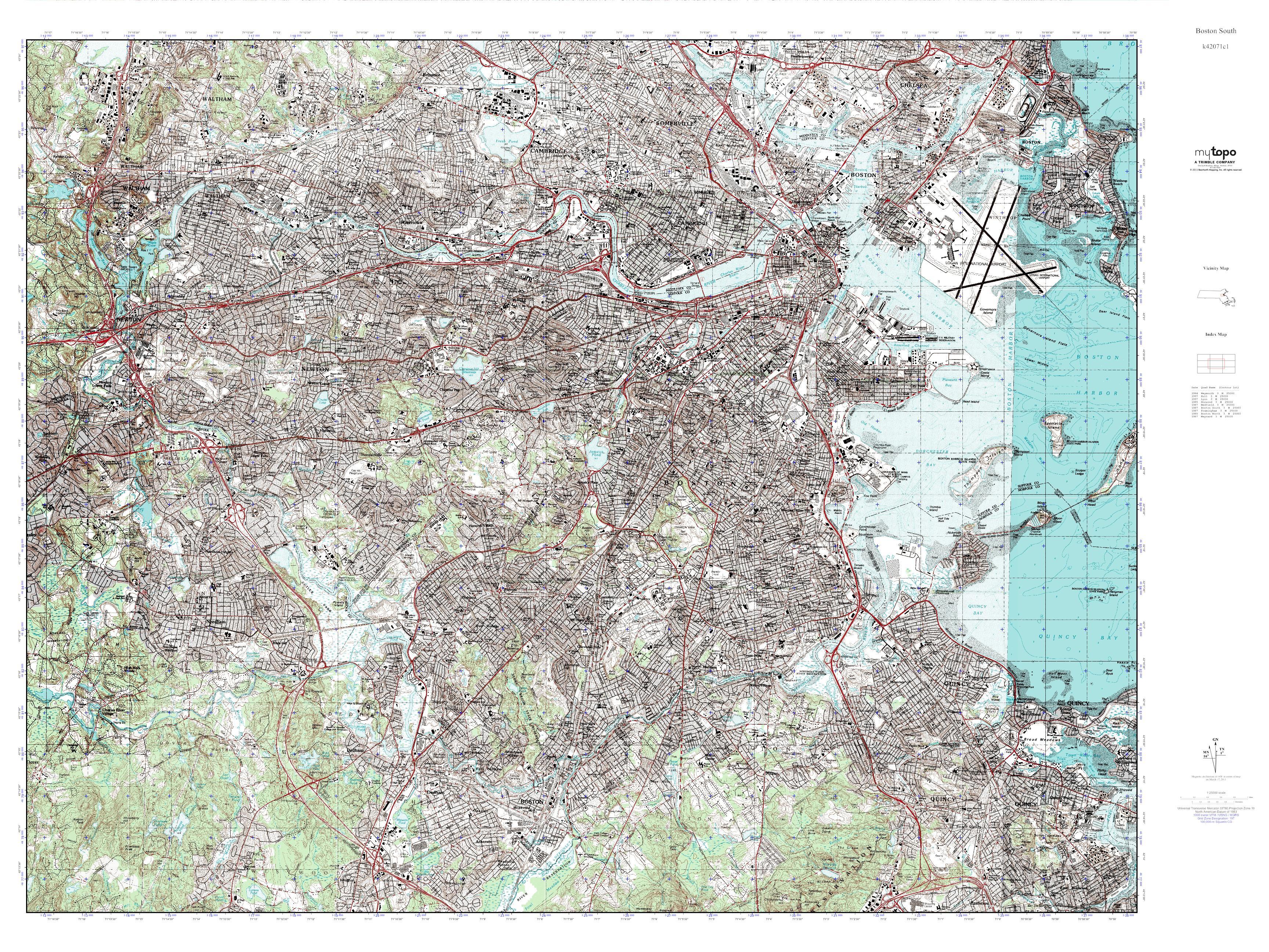 Topographic Map Massachusetts.Mytopo Boston South Massachusetts Usgs Quad Topo Map