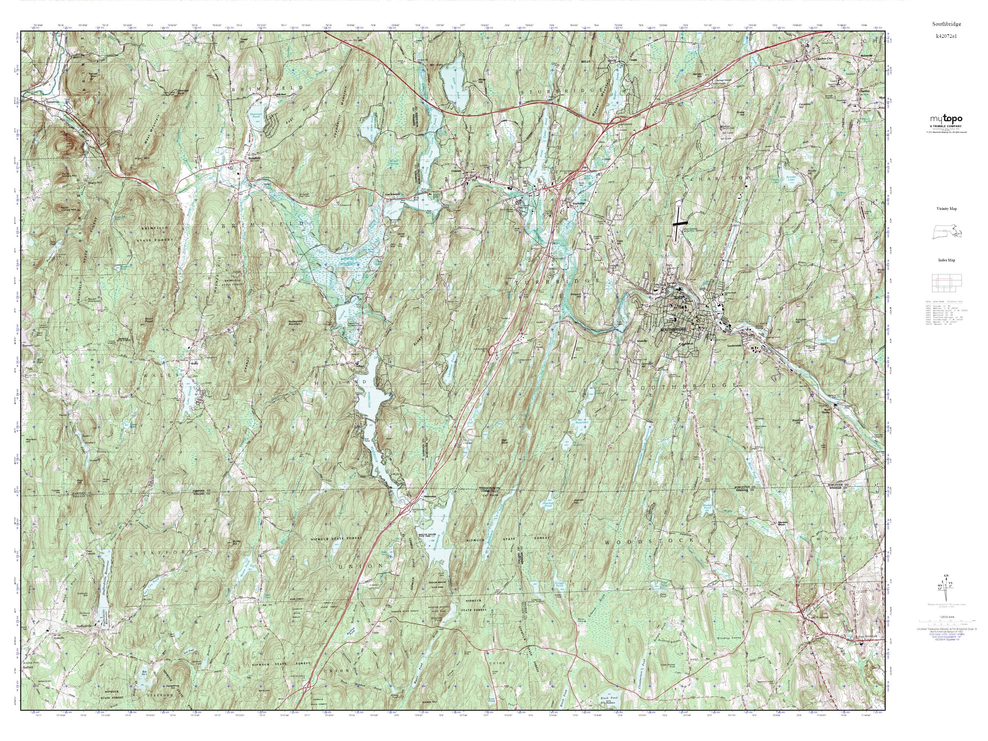 Topographic Map Massachusetts.Mytopo Southbridge Massachusetts Usgs Quad Topo Map