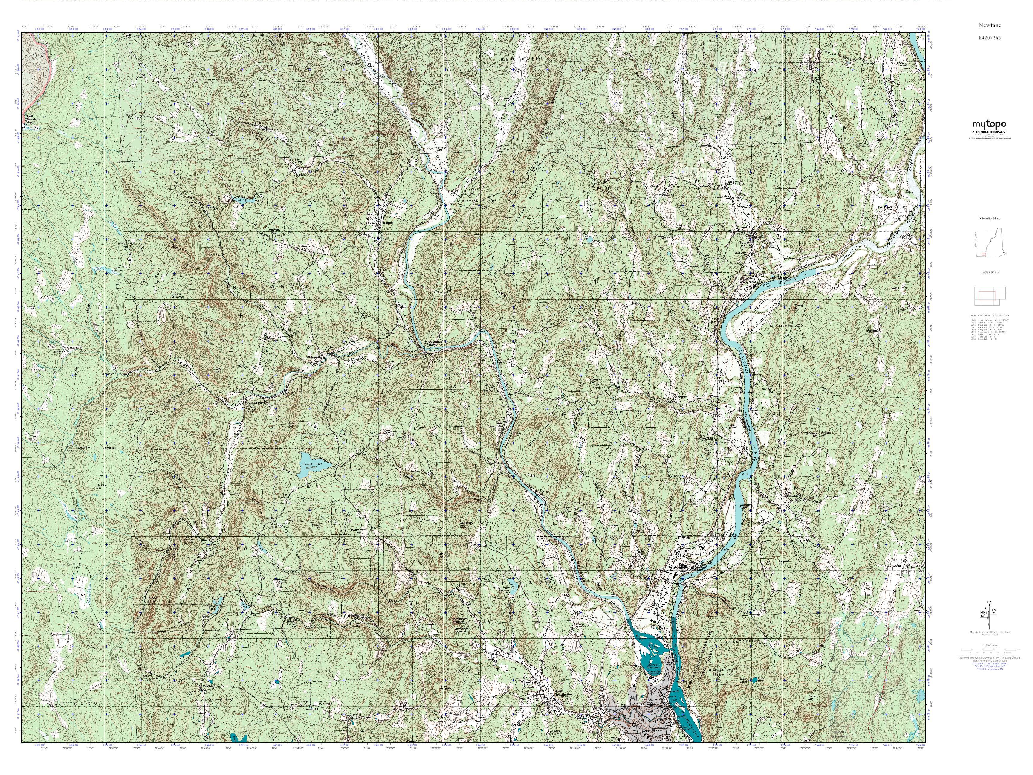 Topographic Map Vermont.Mytopo Newfane Vermont Usgs Quad Topo Map