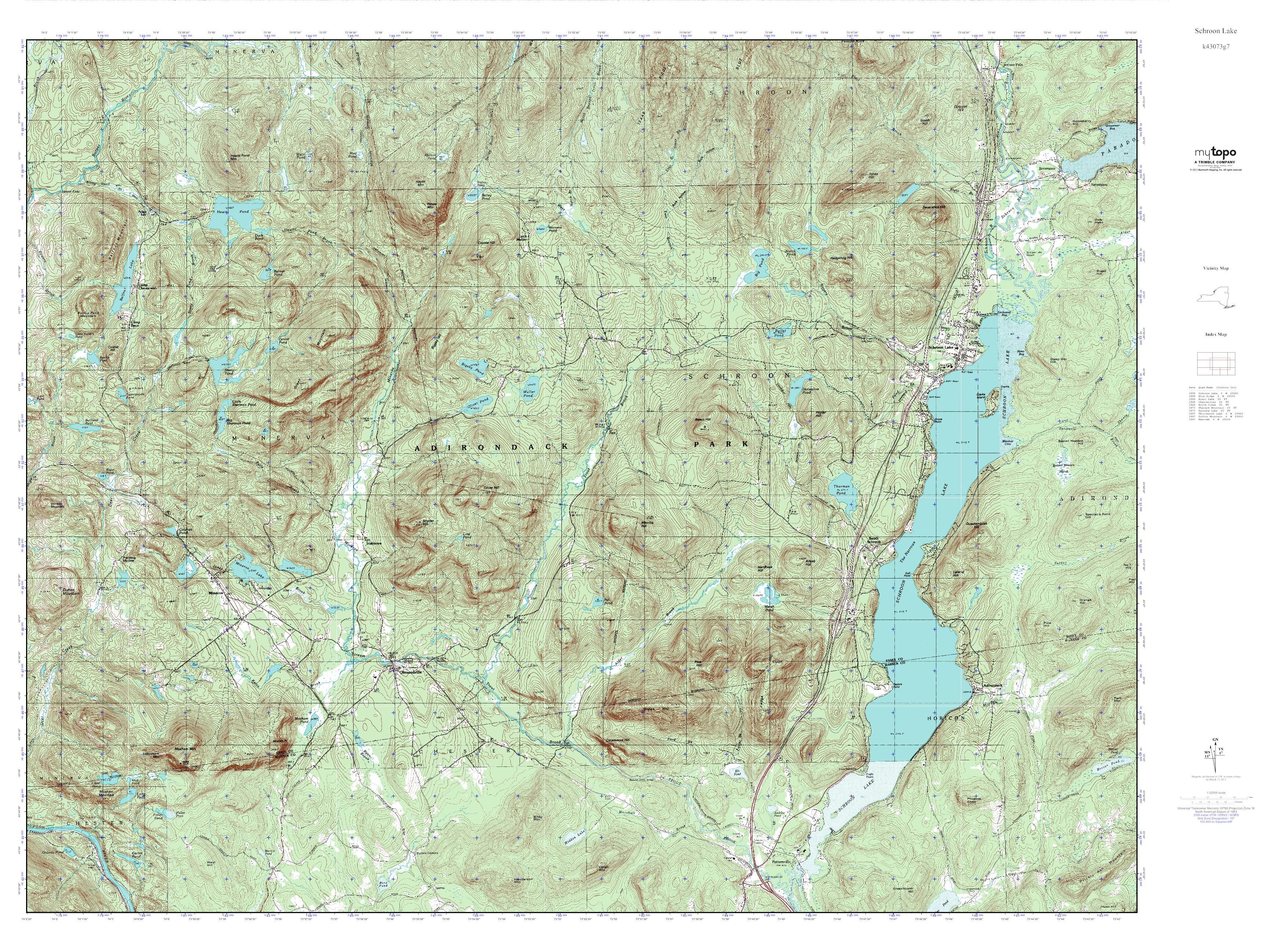 Mytopo Schroon Lake New York Usgs Quad Topo Map