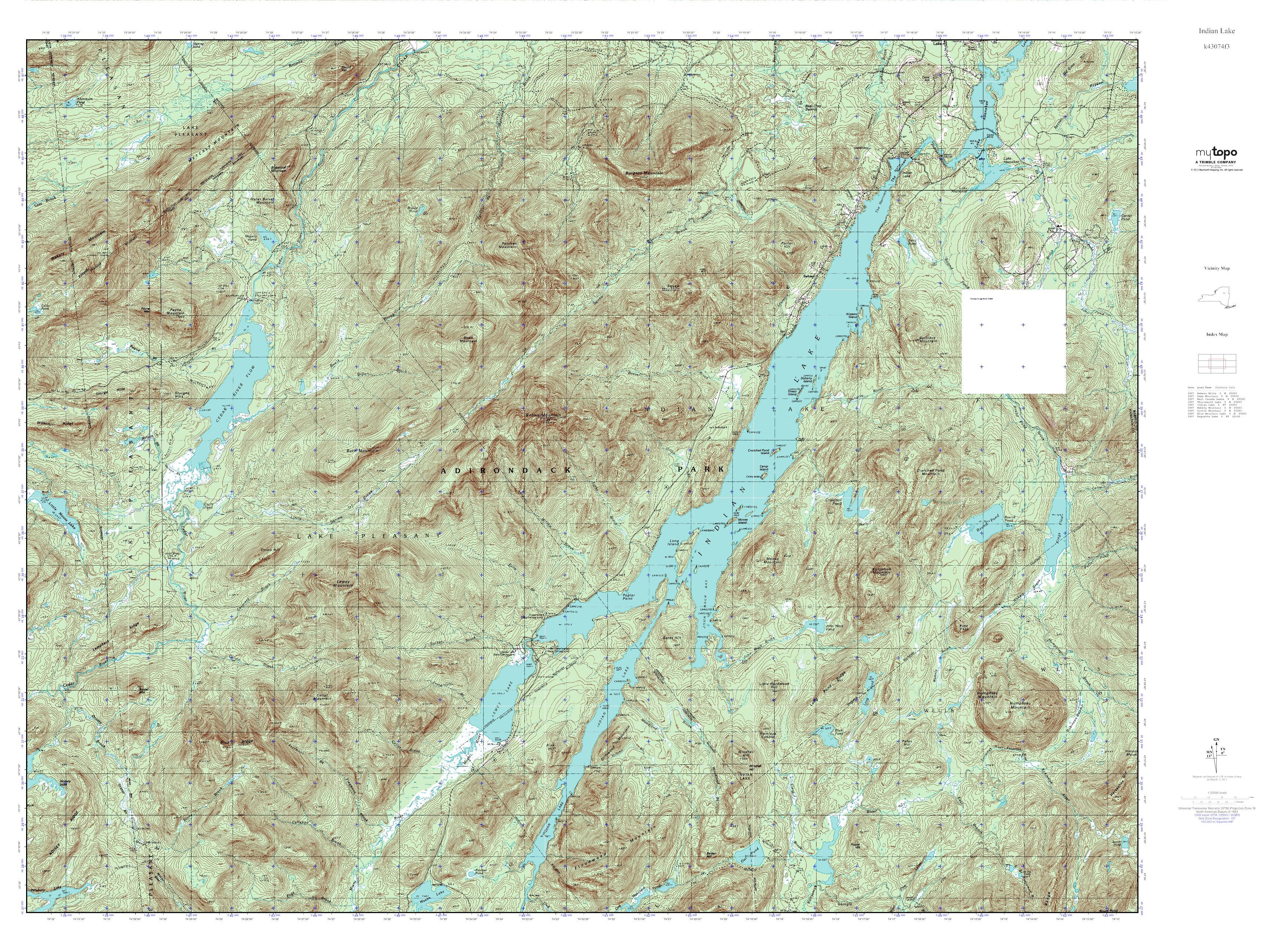 Mytopo Indian Lake New York Usgs Quad Topo Map