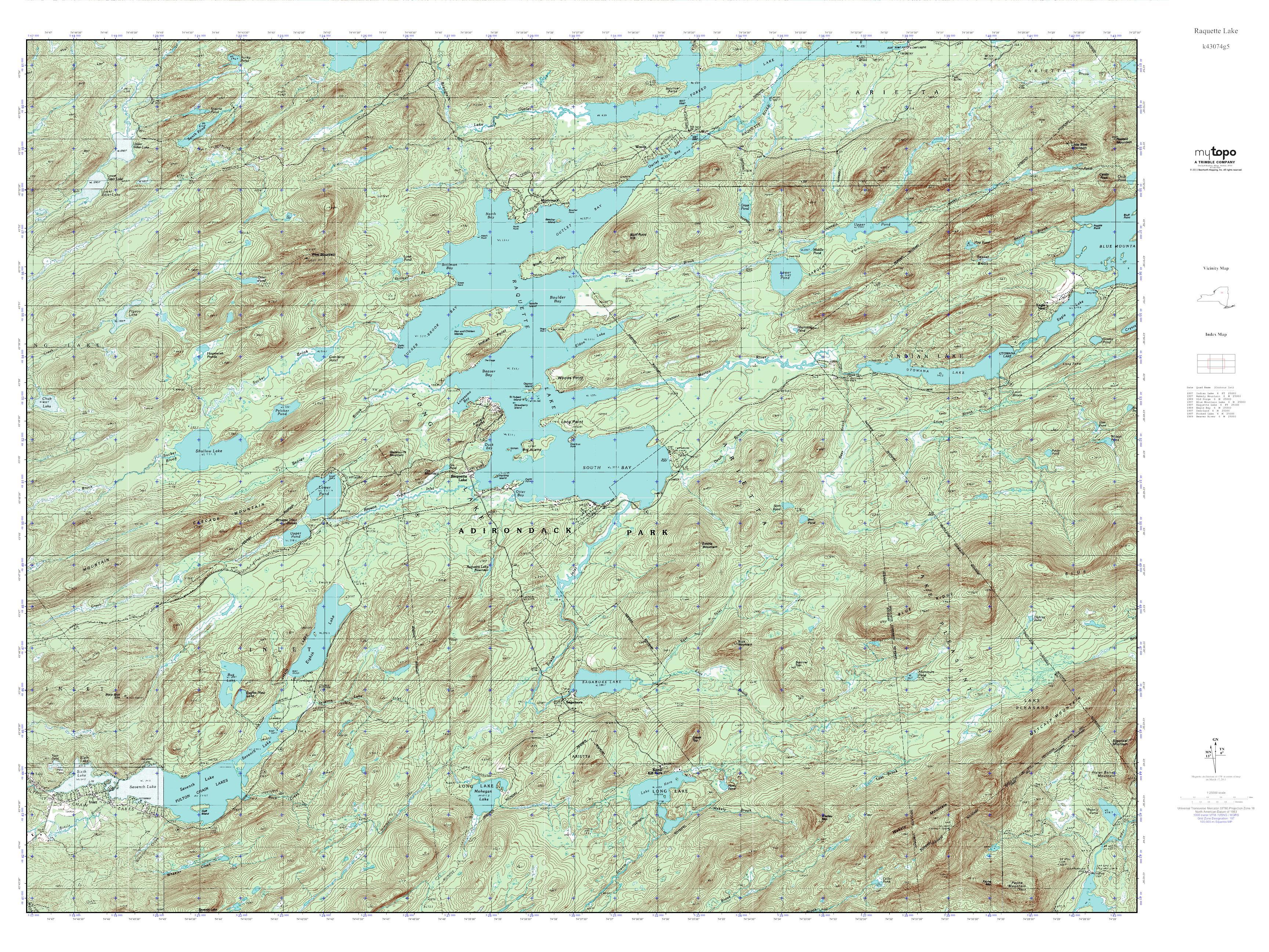Mytopo Raquette Lake New York Usgs Quad Topo Map