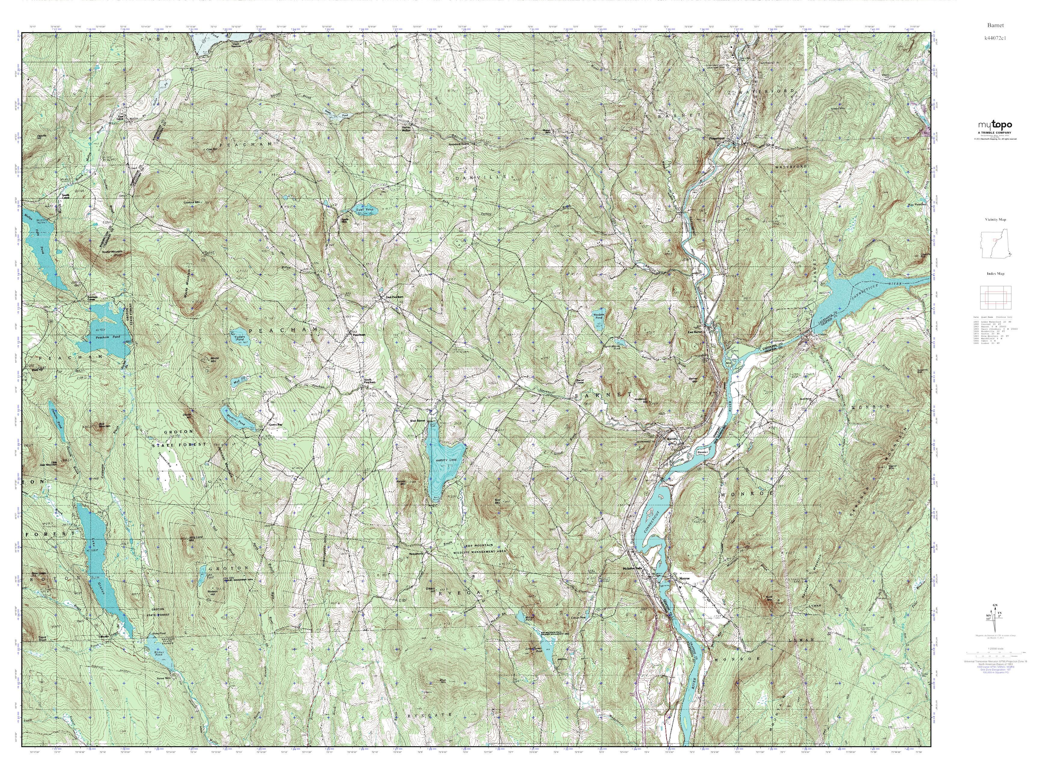 MyTopo Barnet Vermont USGS Quad Topo Map - Usgs quad maps