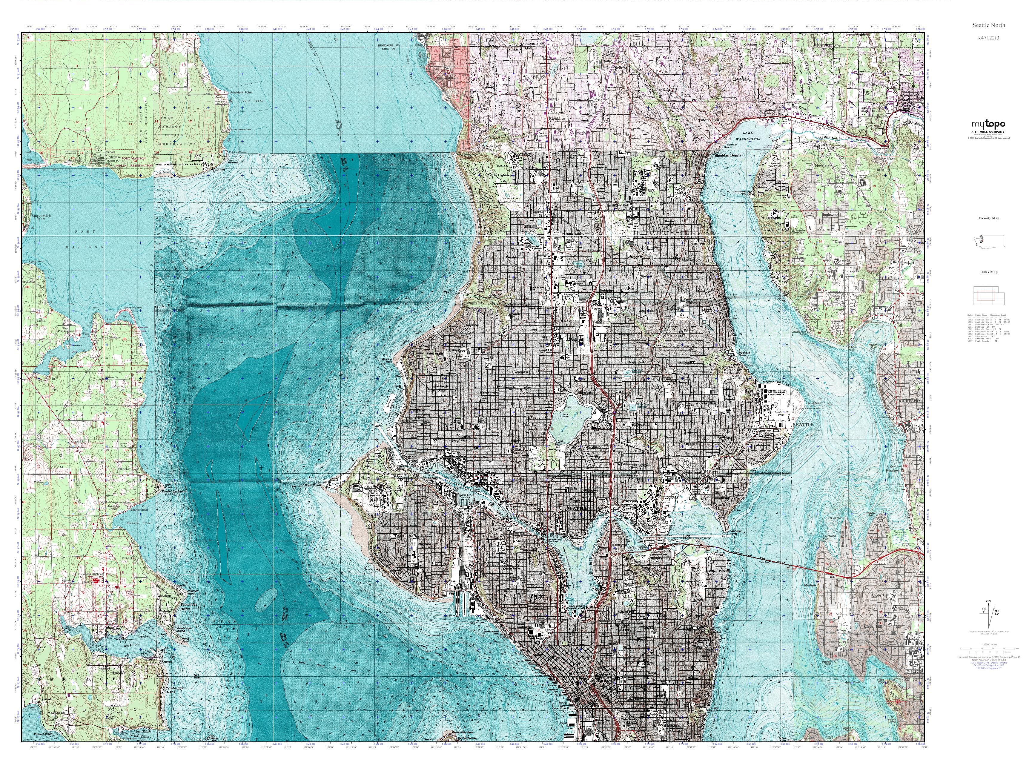 MyTopo Seattle North Washington USGS Quad Topo Map