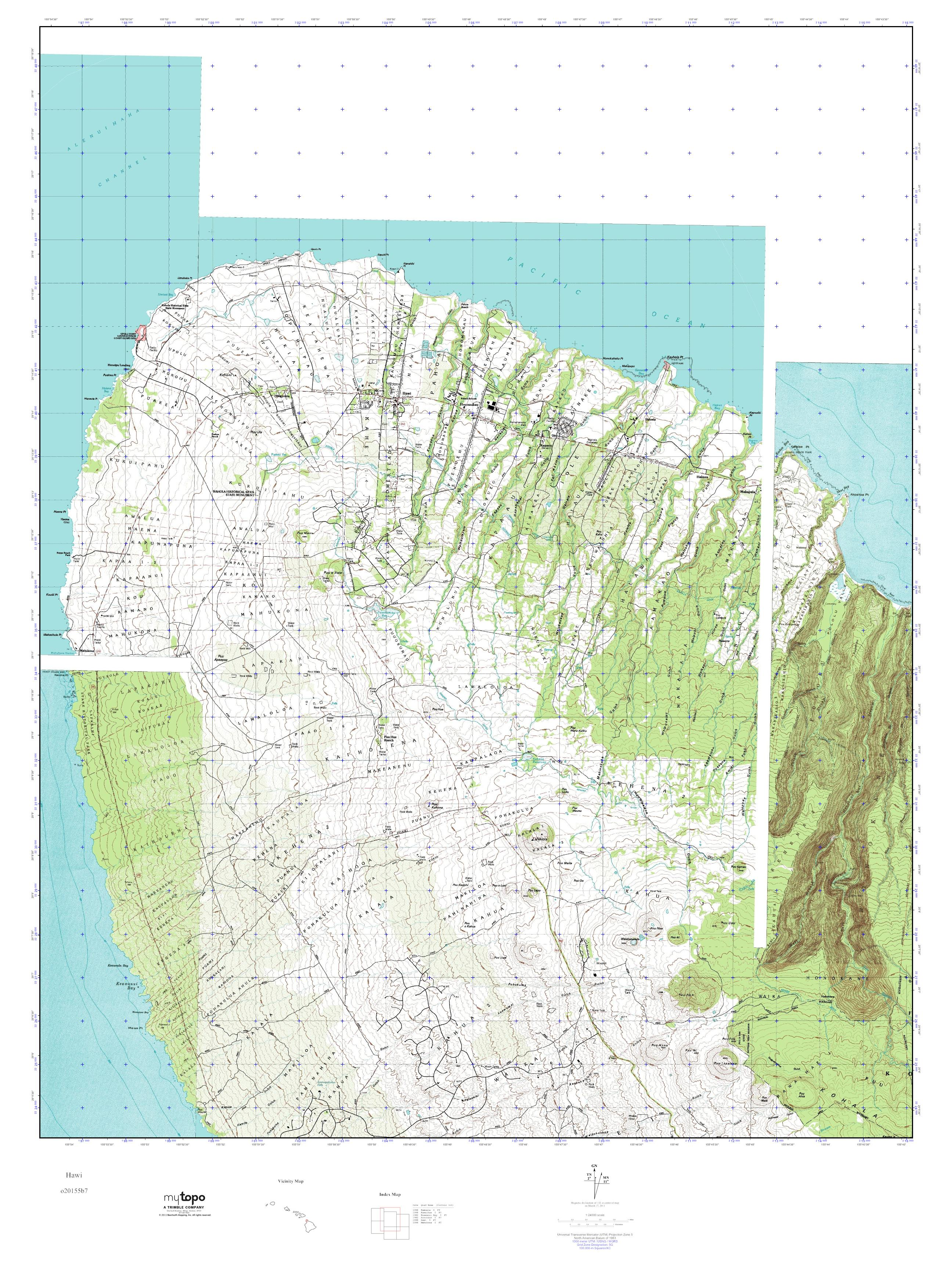 Mytopo Hawi Hawaii Usgs Quad Topo Map