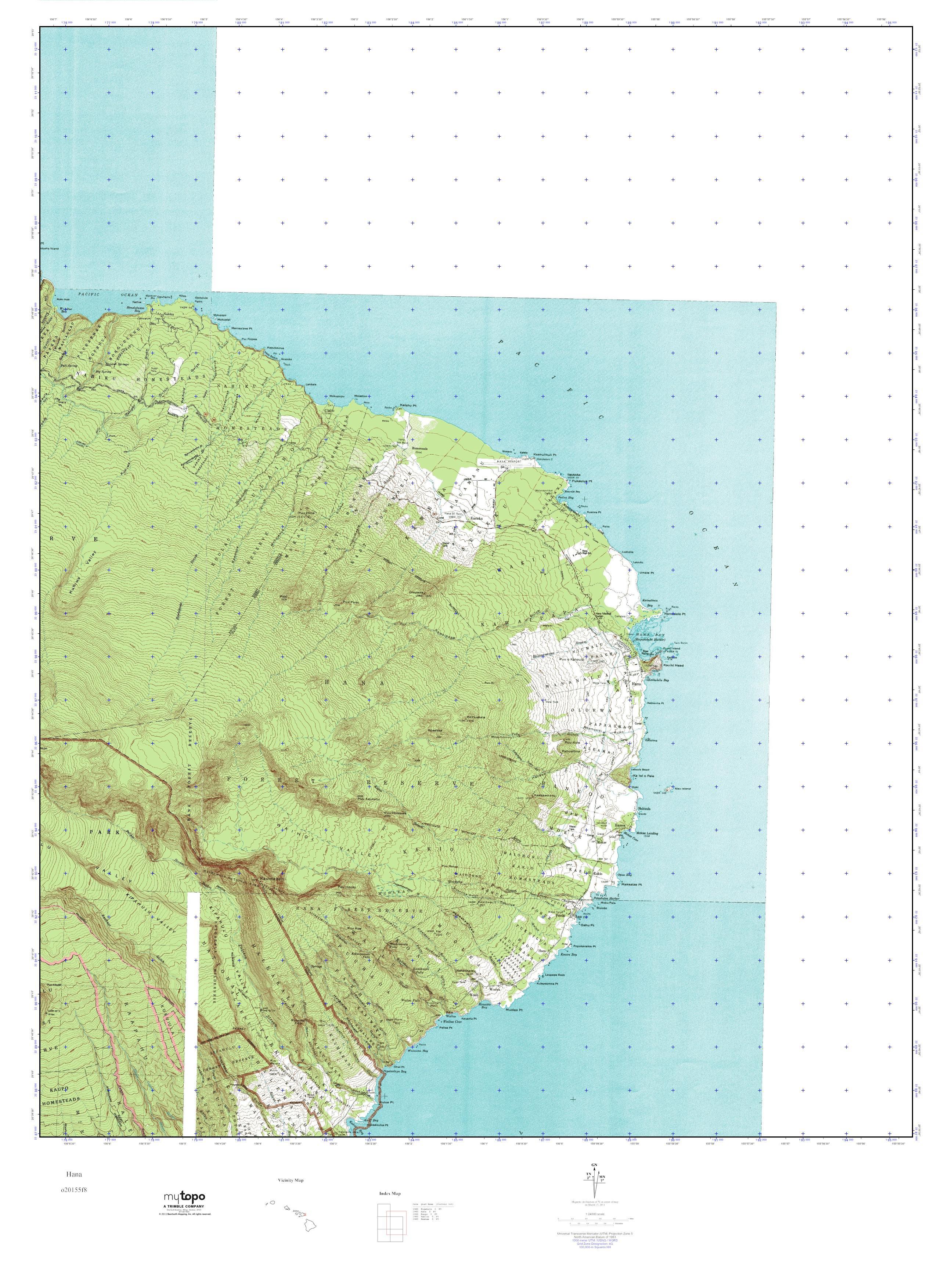 MyTopo Hana, Hawaii USGS Quad Topo Map