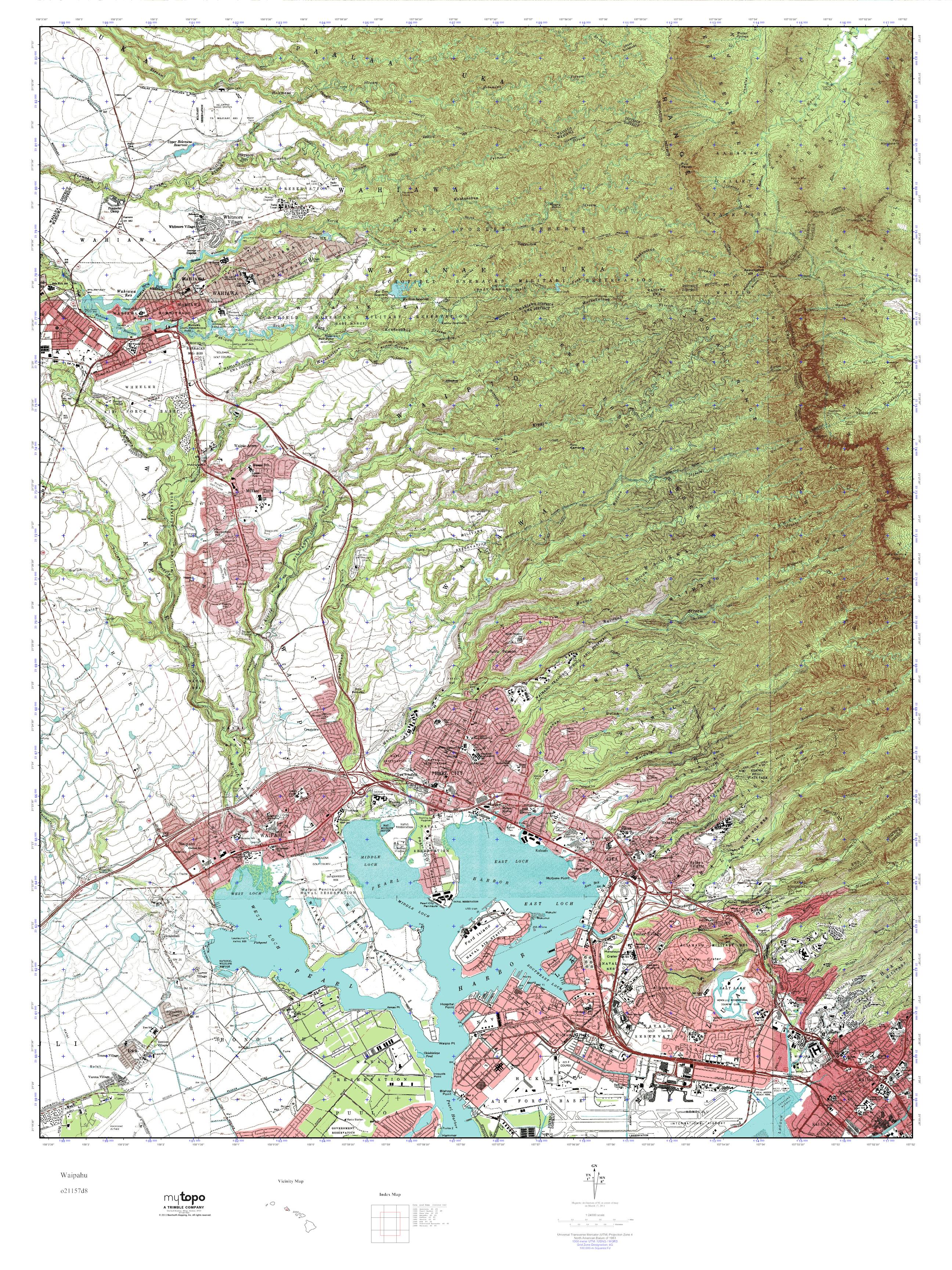 Mytopo Waipahu Hawaii Usgs Quad Topo Map