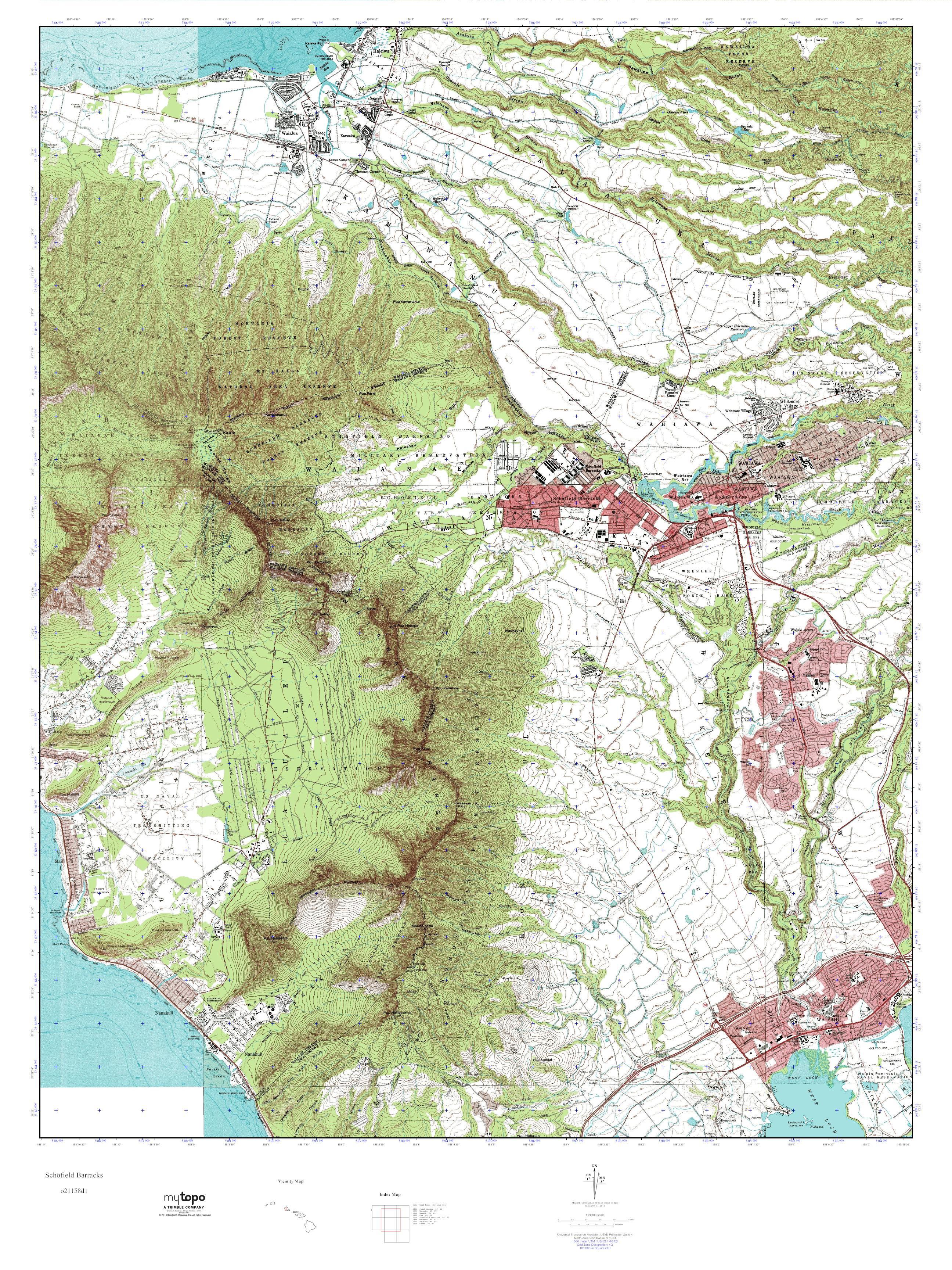 MyTopo Schofield Barracks Hawaii USGS Quad Topo Map
