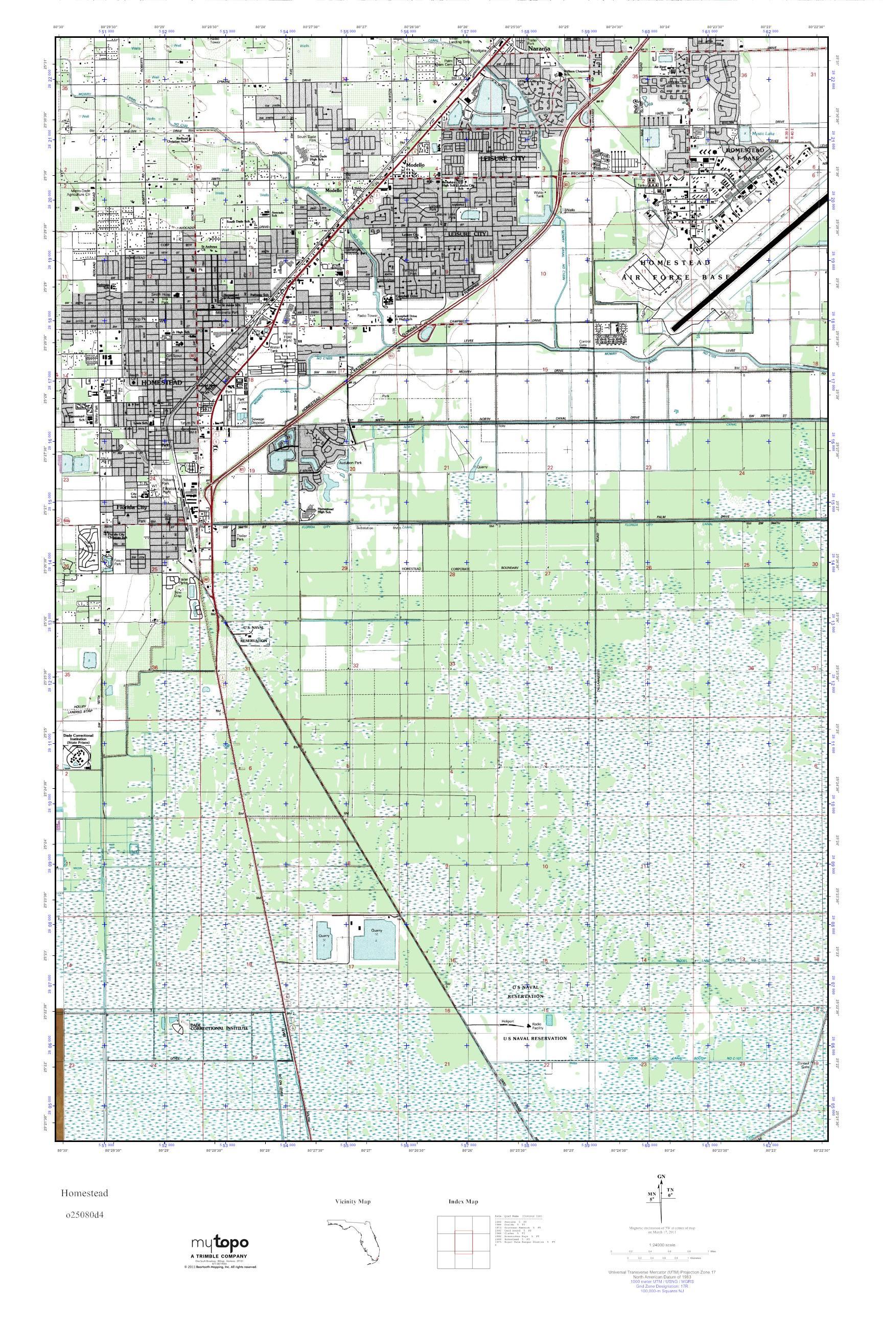 Map Of Homestead Florida.Mytopo Homestead Florida Usgs Quad Topo Map
