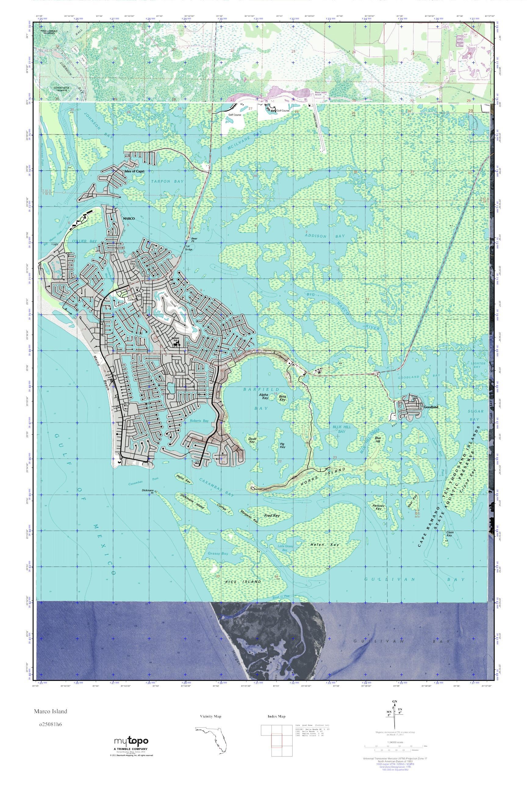 MyTopo Marco Island Florida USGS Quad Topo Map - Florida quad map