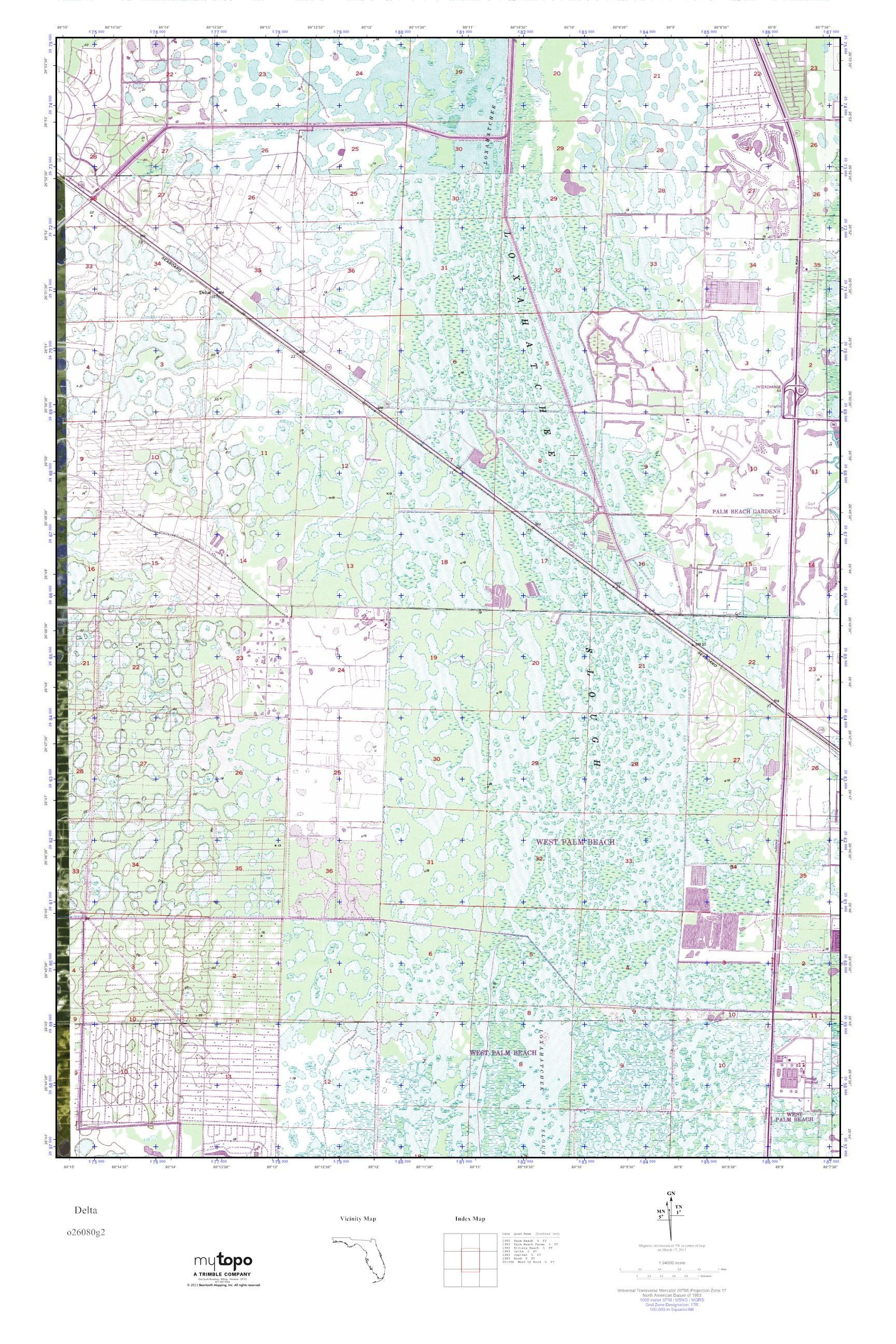 MyTopo Delta Florida USGS Quad Topo Map - Florida quad map