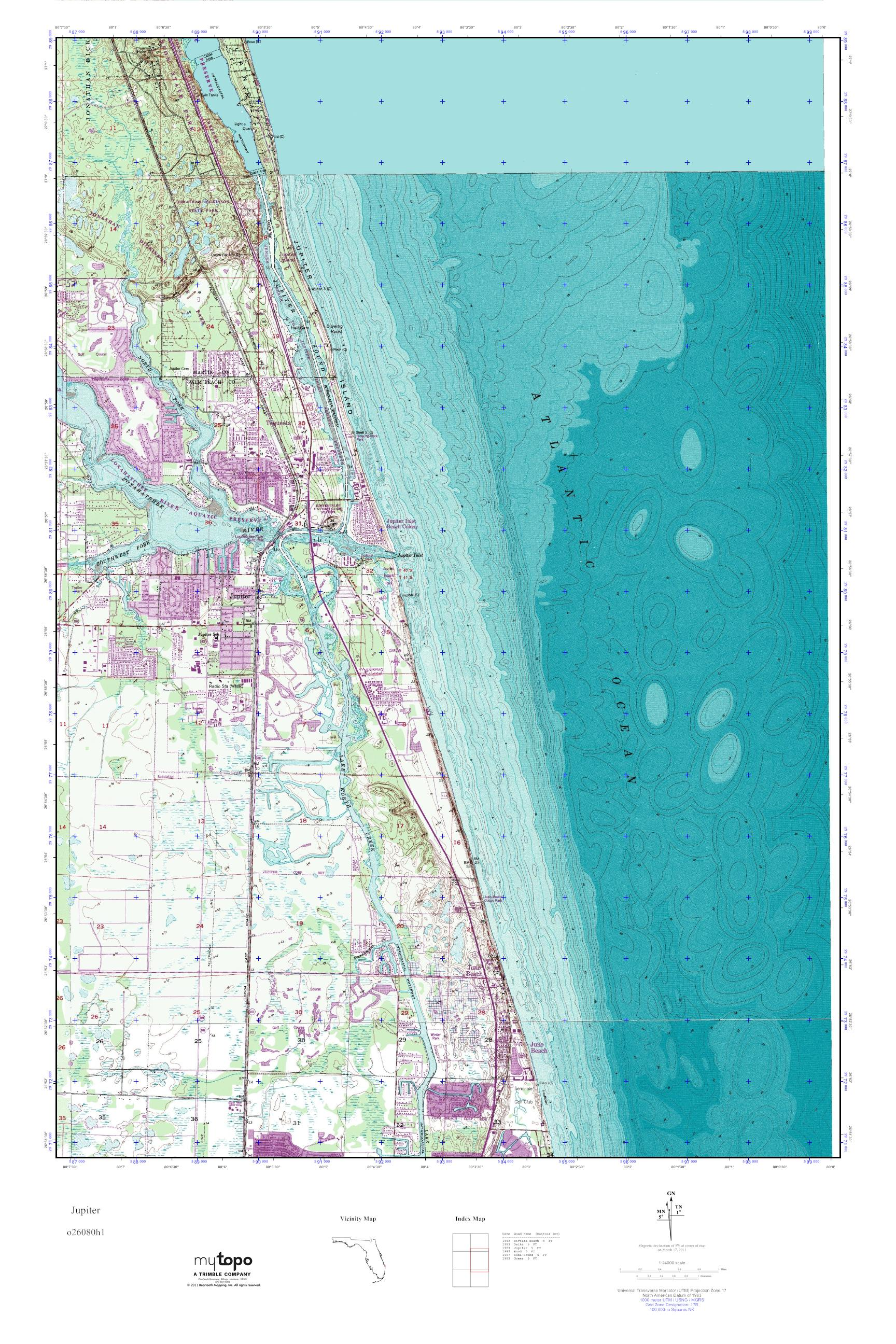 Map Of Florida Showing Jupiter.Mytopo Jupiter Florida Usgs Quad Topo Map