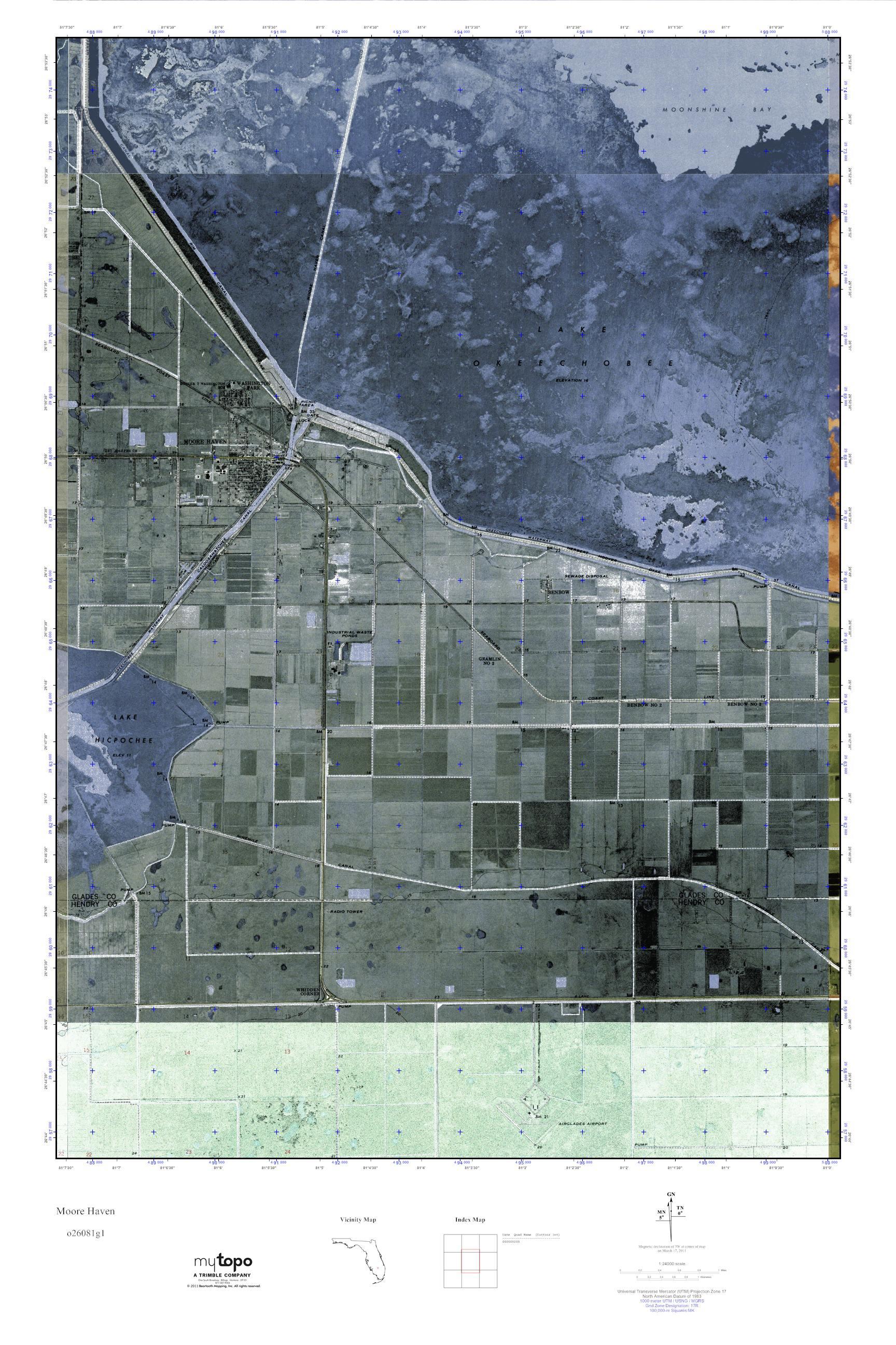 Moore Haven Florida Map.Mytopo Moore Haven Florida Usgs Quad Topo Map