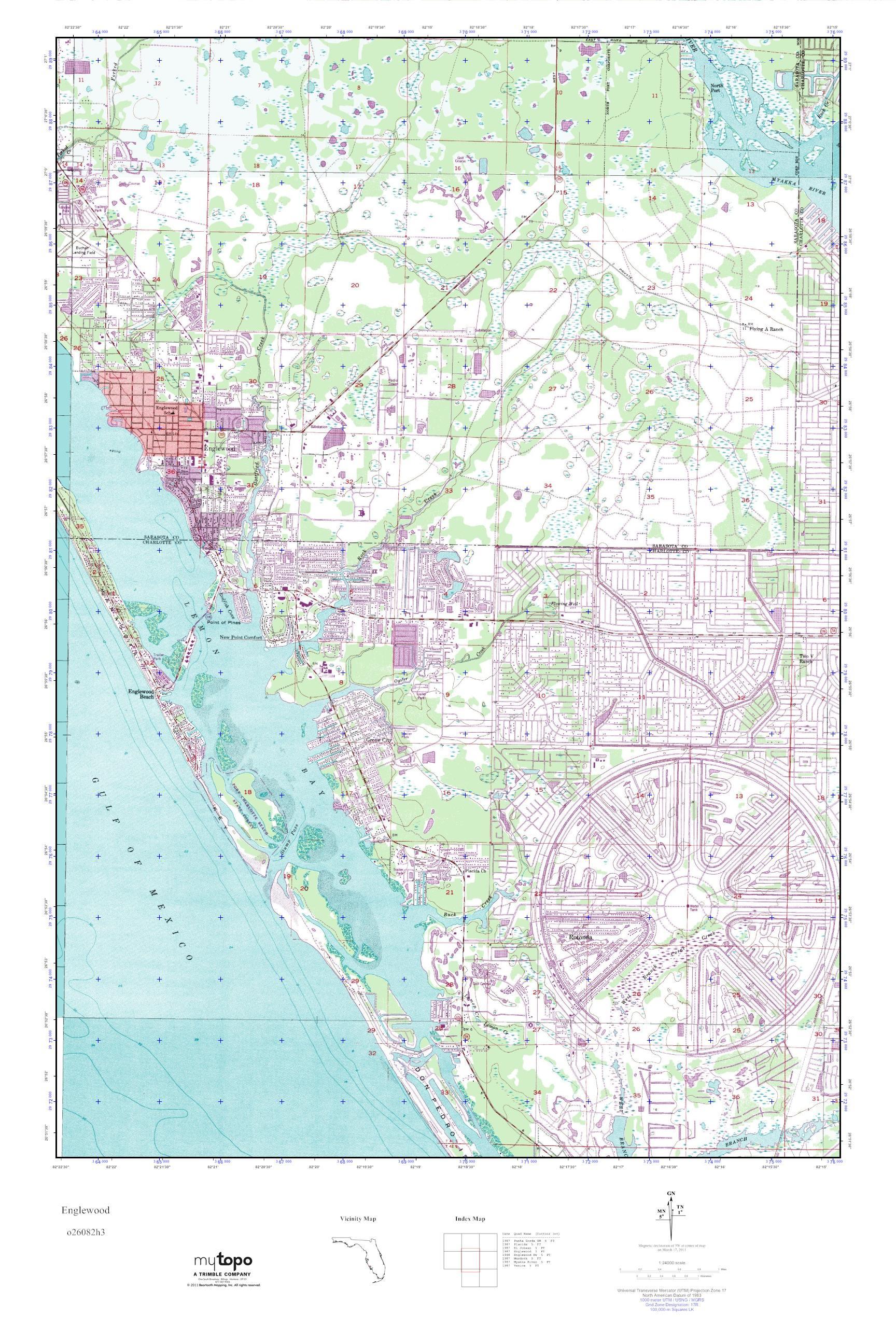 MyTopo Englewood Florida USGS Quad Topo Map - Florida quad map