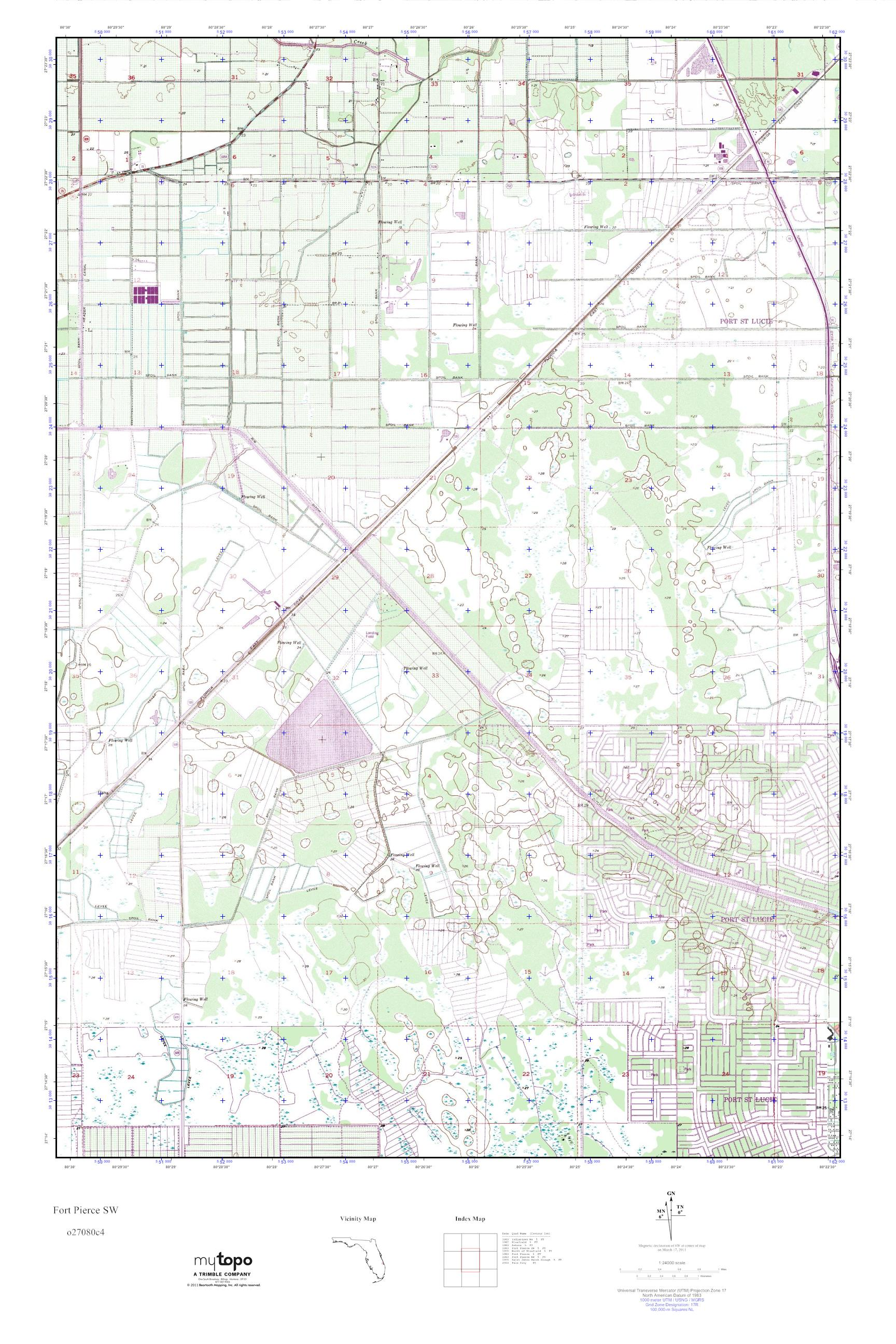 Sw Florida Map.Mytopo Fort Pierce Sw Florida Usgs Quad Topo Map