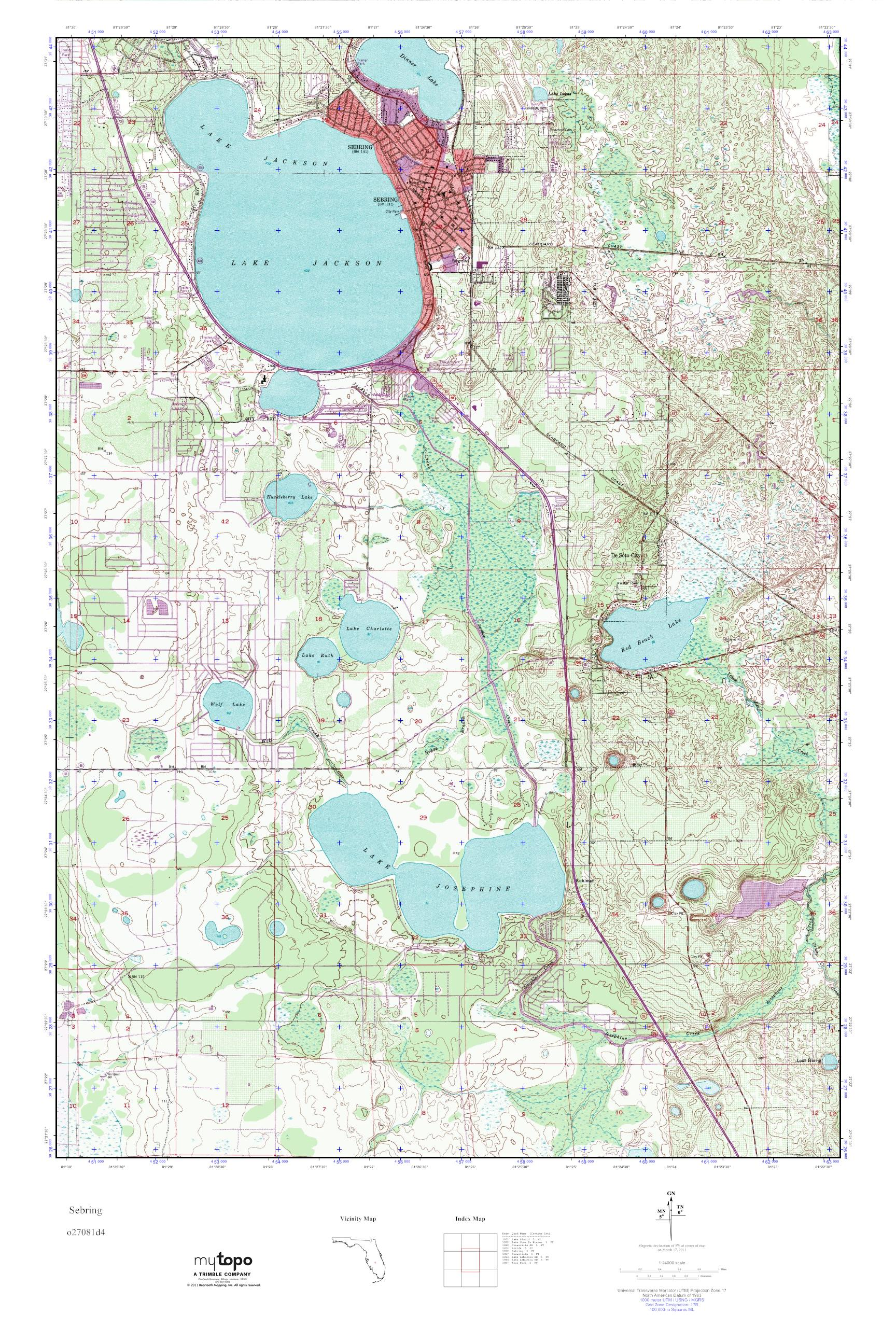 Sebring Florida Map.Mytopo Sebring Florida Usgs Quad Topo Map