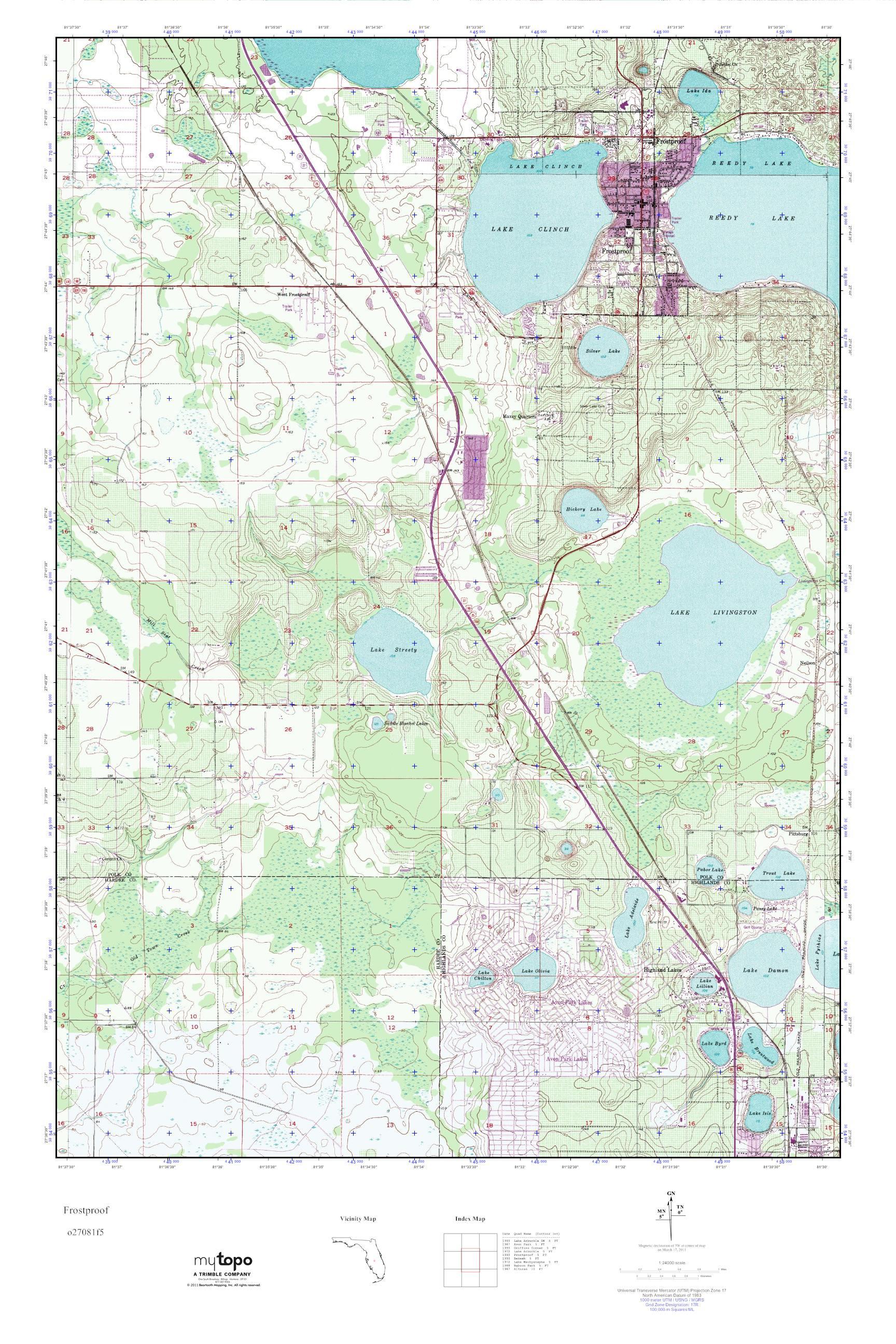 Frostproof Florida Map.Mytopo Frostproof Florida Usgs Quad Topo Map