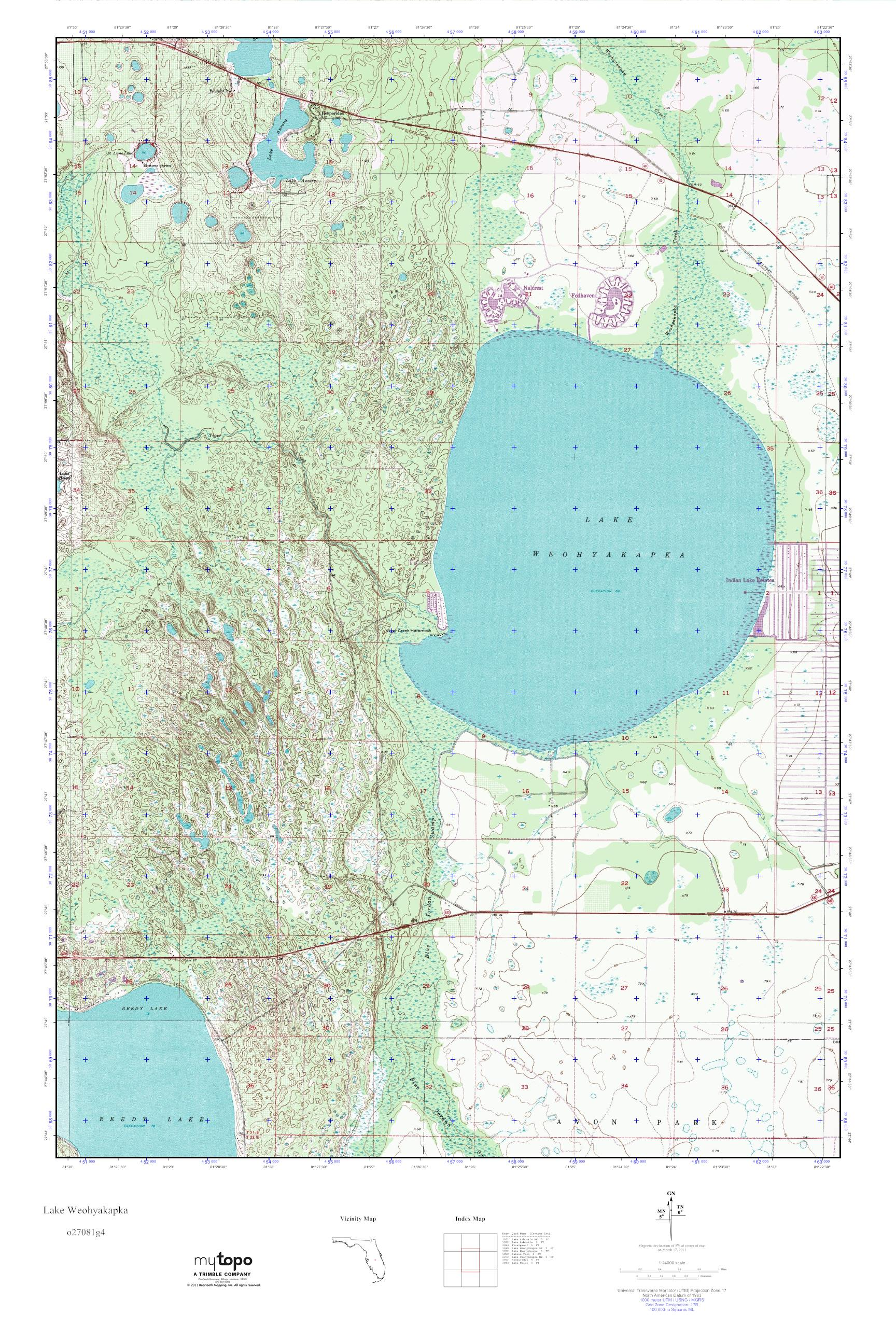 MyTopo Lake Weohyakapka Florida USGS Quad Topo Map - Florida quad map