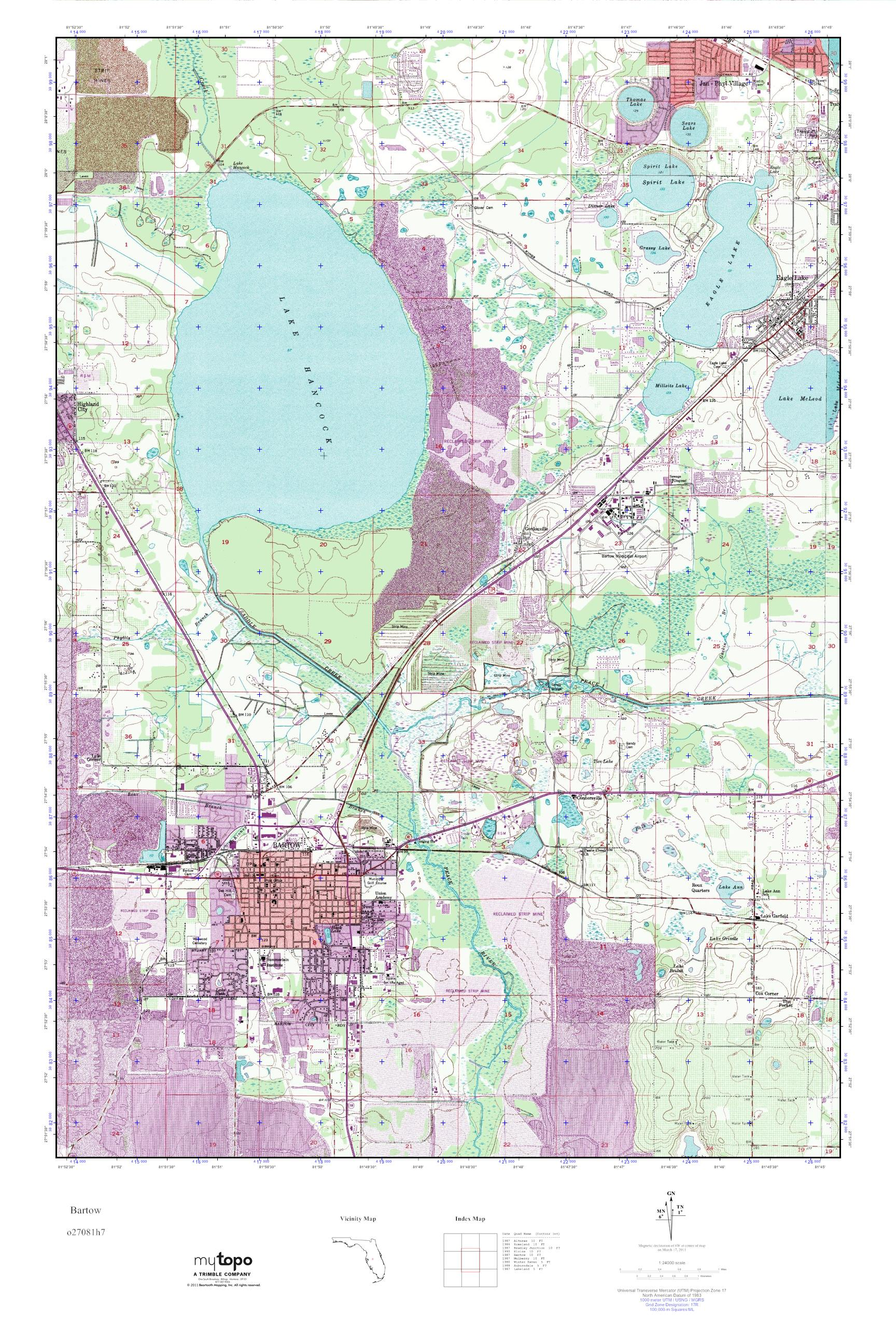 Bartow Florida Map.Mytopo Bartow Florida Usgs Quad Topo Map