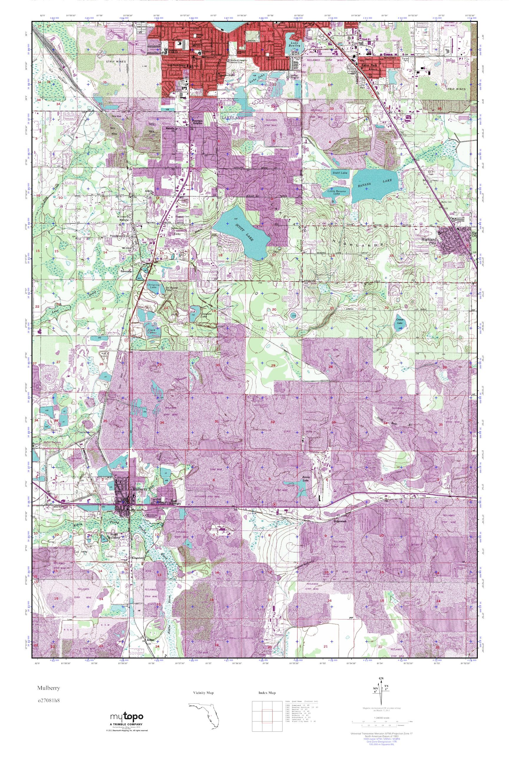 Mulberry Florida Map.Mytopo Mulberry Florida Usgs Quad Topo Map