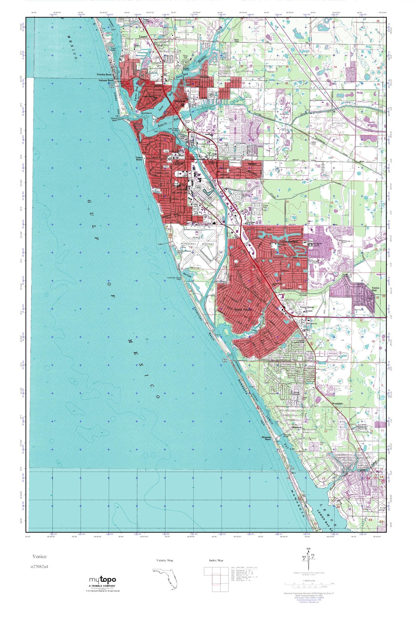 Venice Florida Map.Mytopo Venice Florida Usgs Quad Topo Map