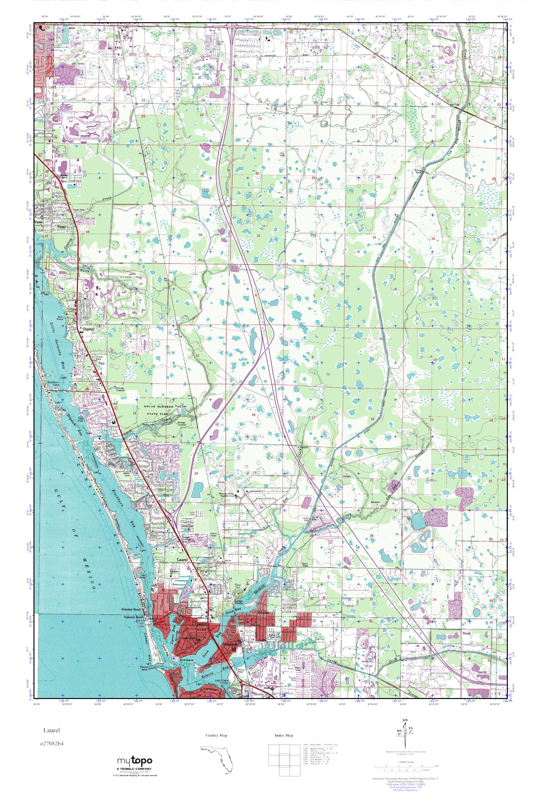 MyTopo Laurel, Florida USGS Quad Topo Map