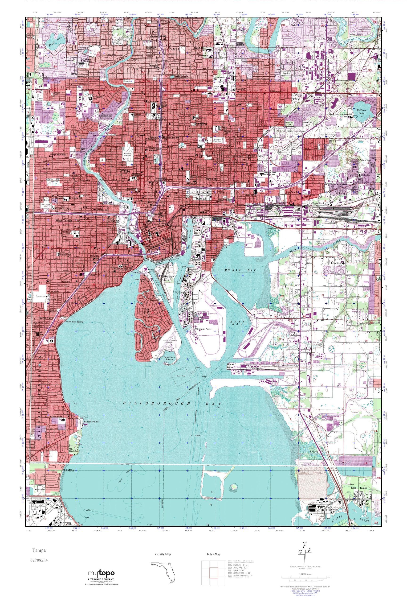Tampa Topographic Map.Mytopo Tampa Florida Usgs Quad Topo Map