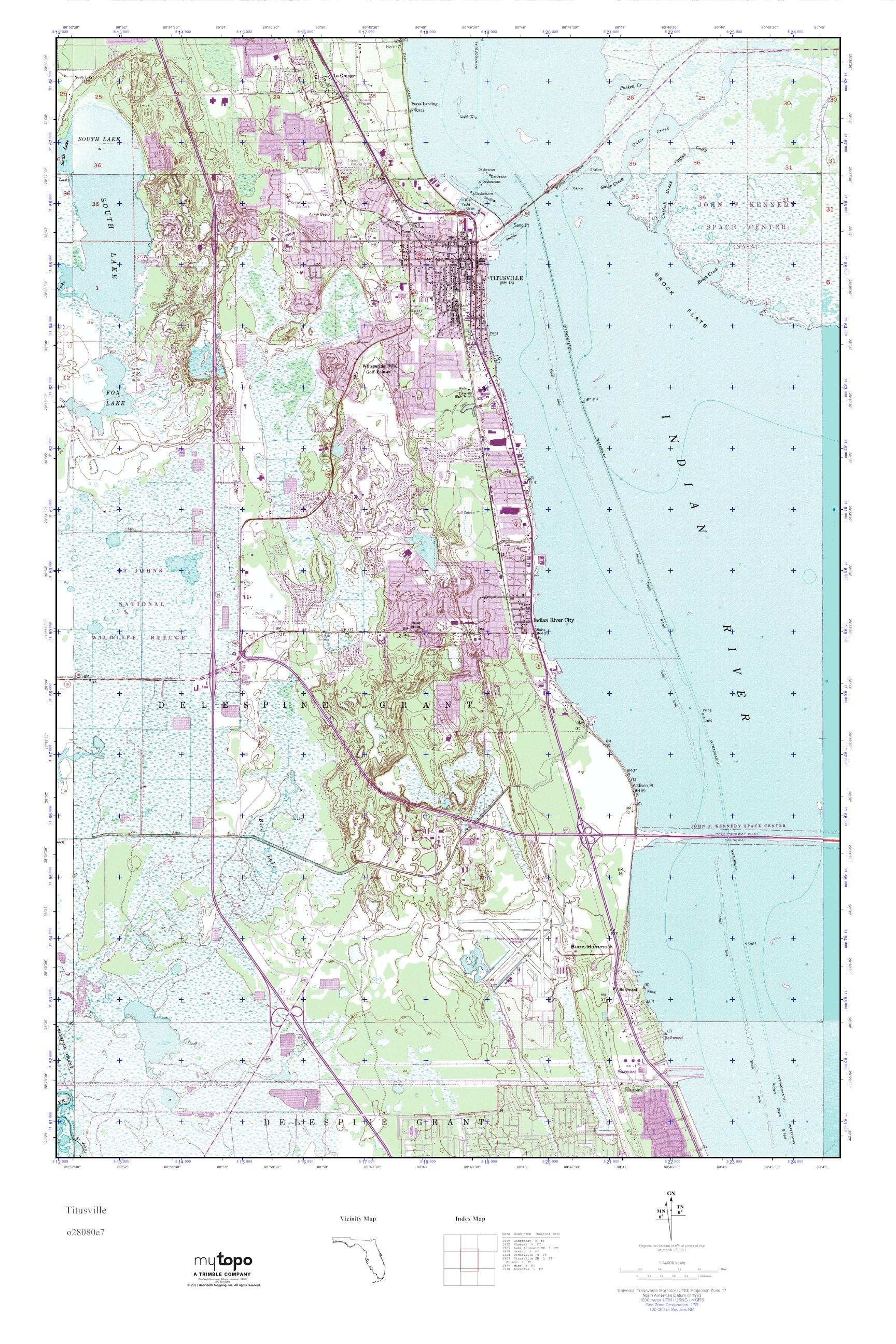 Titusville Florida Map.Mytopo Titusville Florida Usgs Quad Topo Map