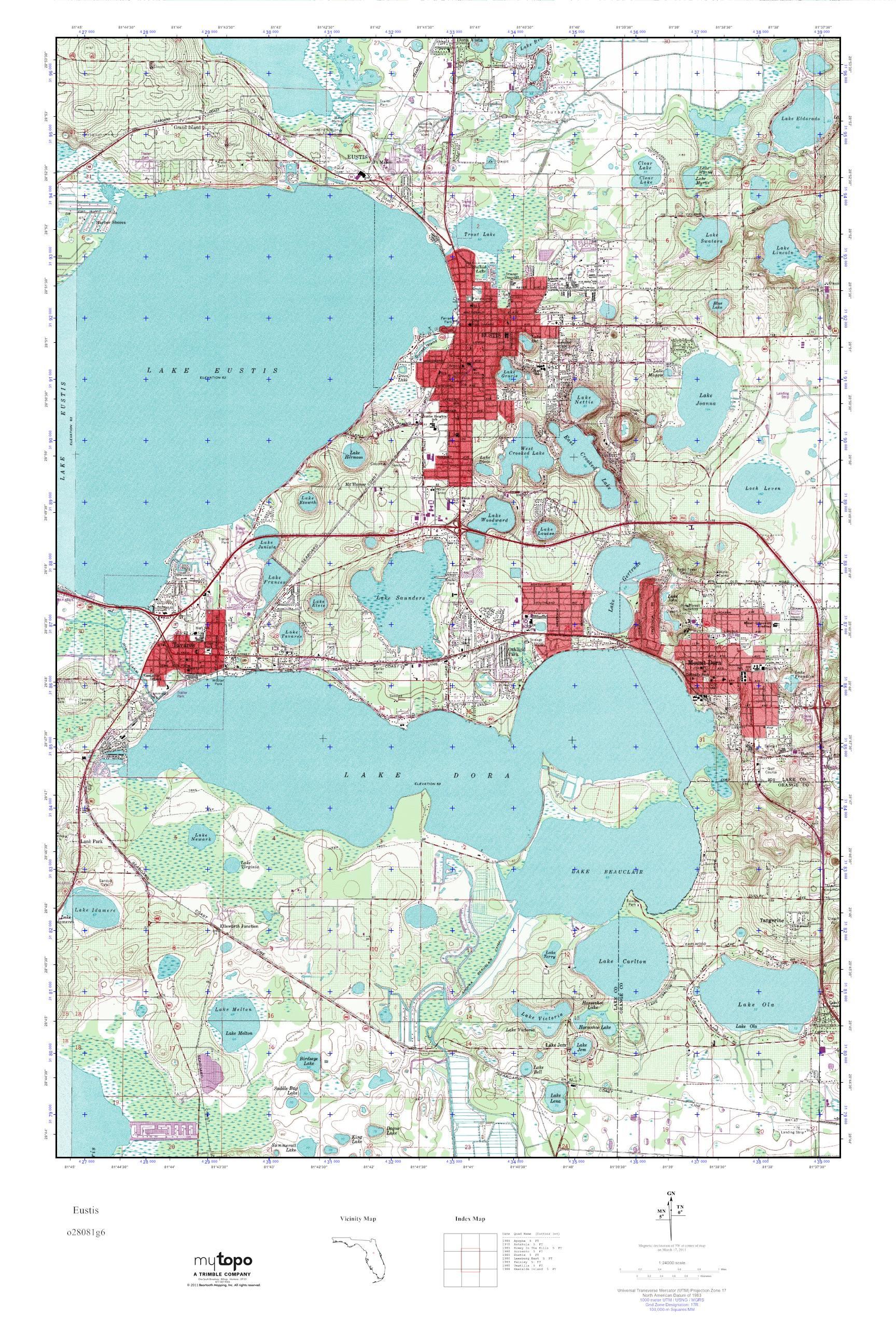 MyTopo Eustis Florida USGS Quad Topo Map - Florida map eustis