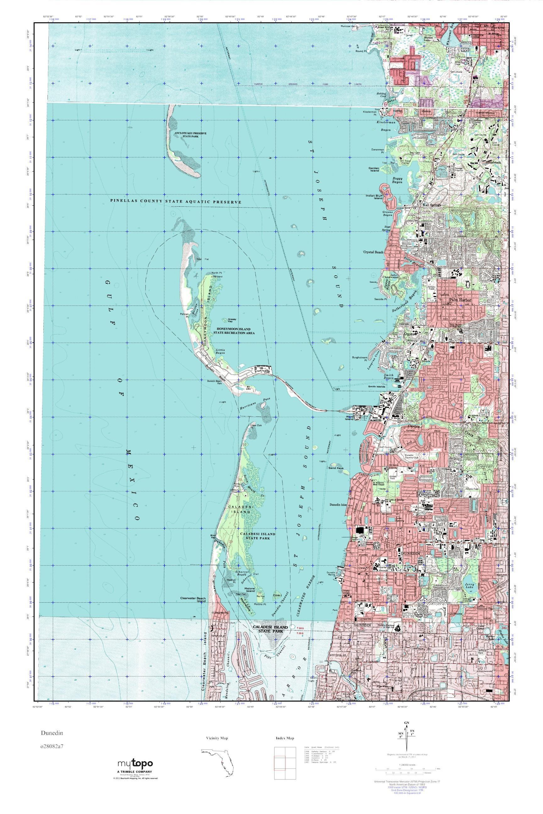 Mytopo Dunedin Florida Usgs Quad Topo Map