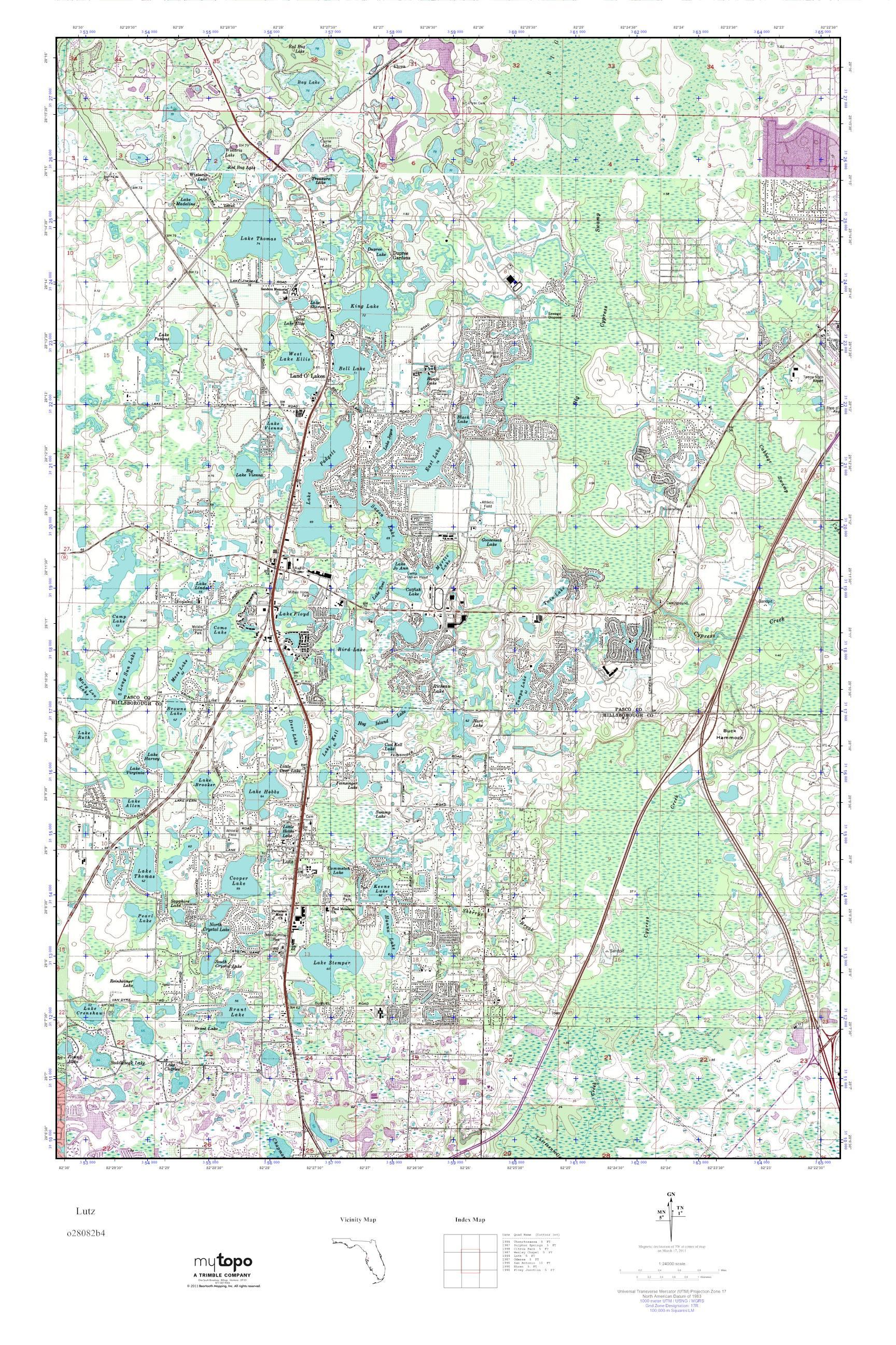 Lutz Florida Map.Mytopo Lutz Florida Usgs Quad Topo Map