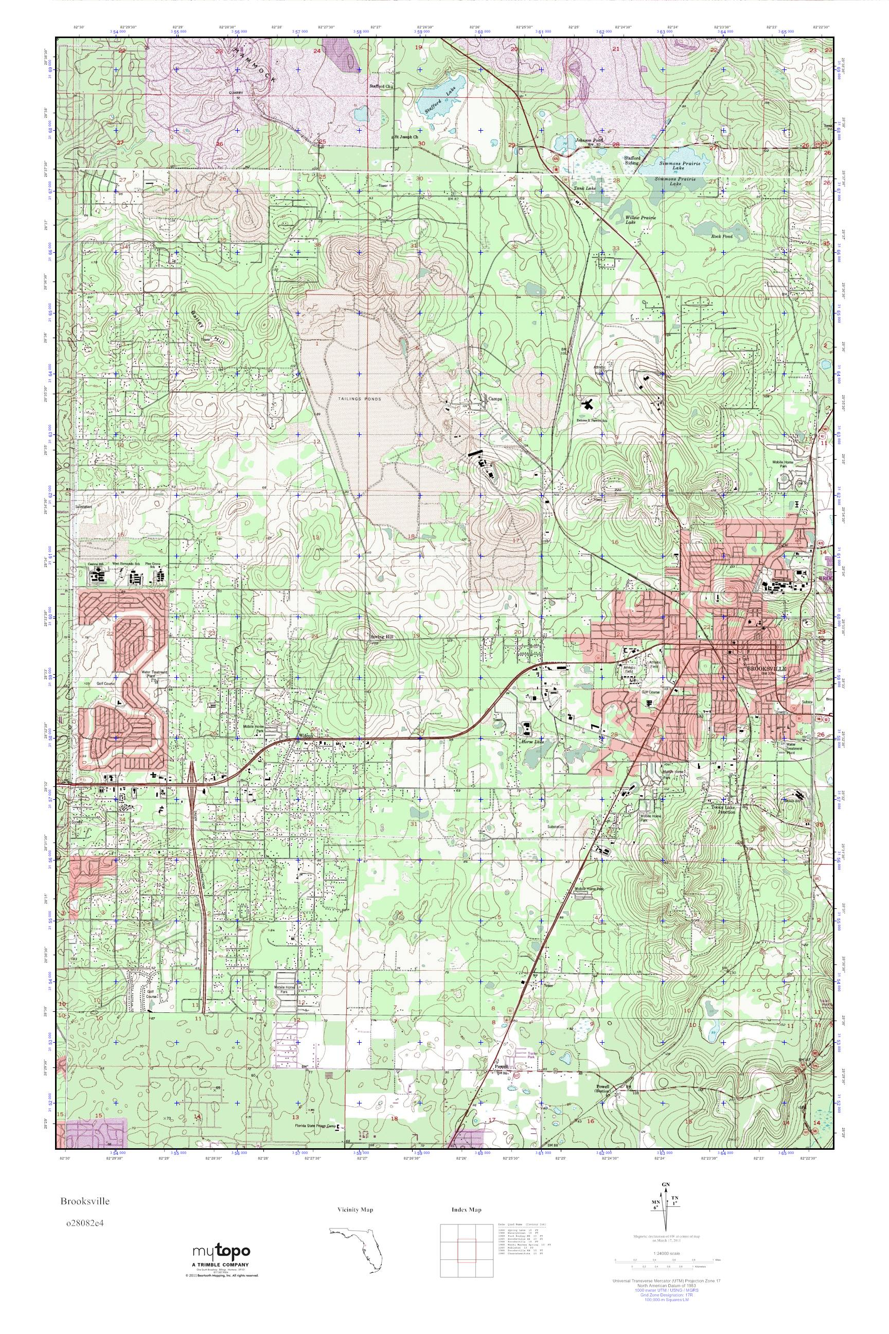 Brooksville Florida Map.Mytopo Brooksville Florida Usgs Quad Topo Map