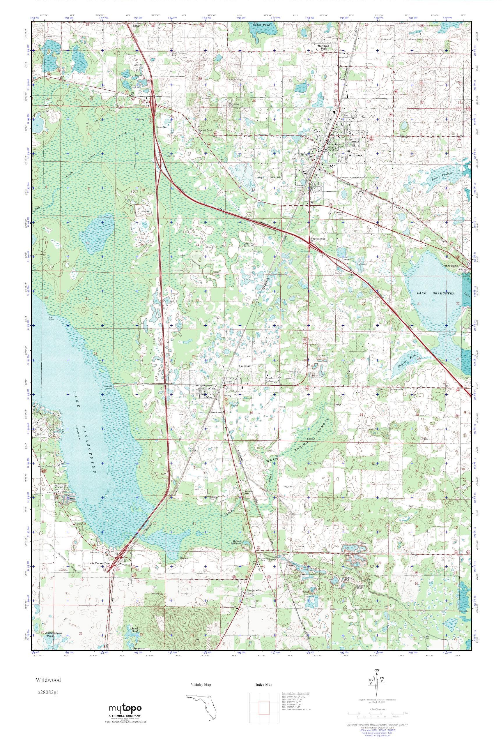 Wildwood Florida Map.Mytopo Wildwood Florida Usgs Quad Topo Map